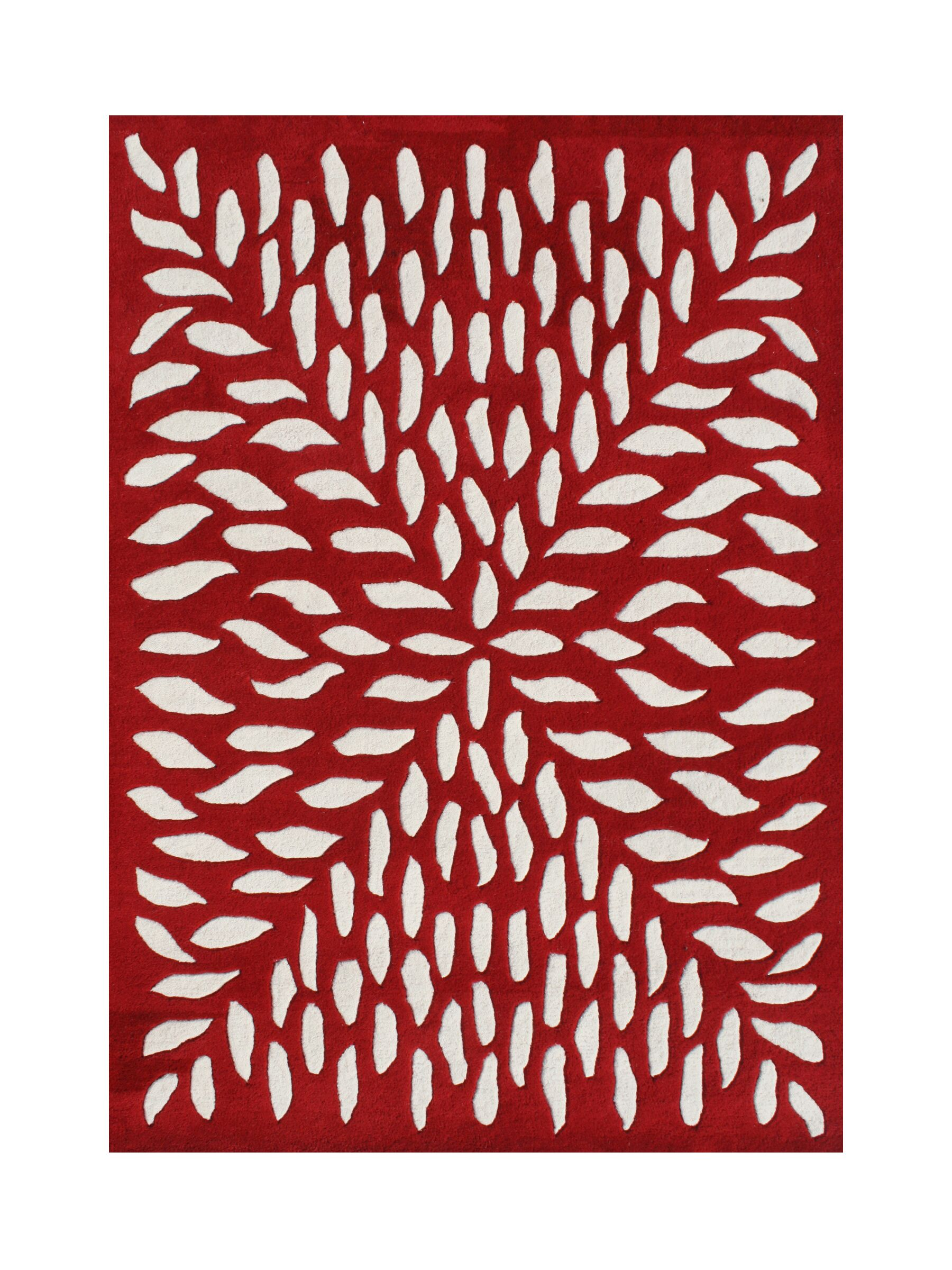 Vernonia Hand-Tufted Red/White Area Rug Rug Size: Rectangle 8' x 10'
