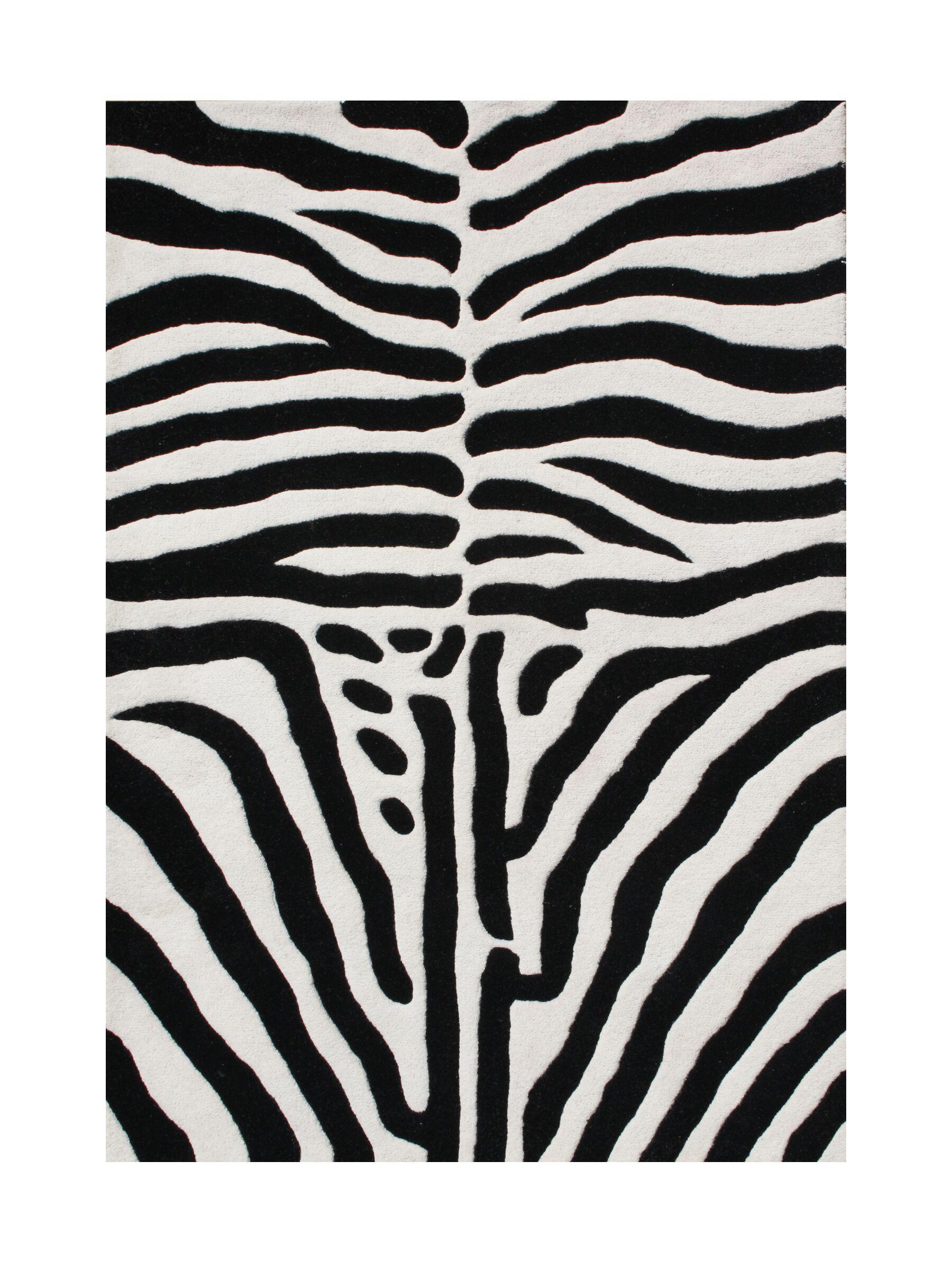 Walton Hand-Tufted Black/White Area Rug Rug Size: Rectangle 5' x 8'