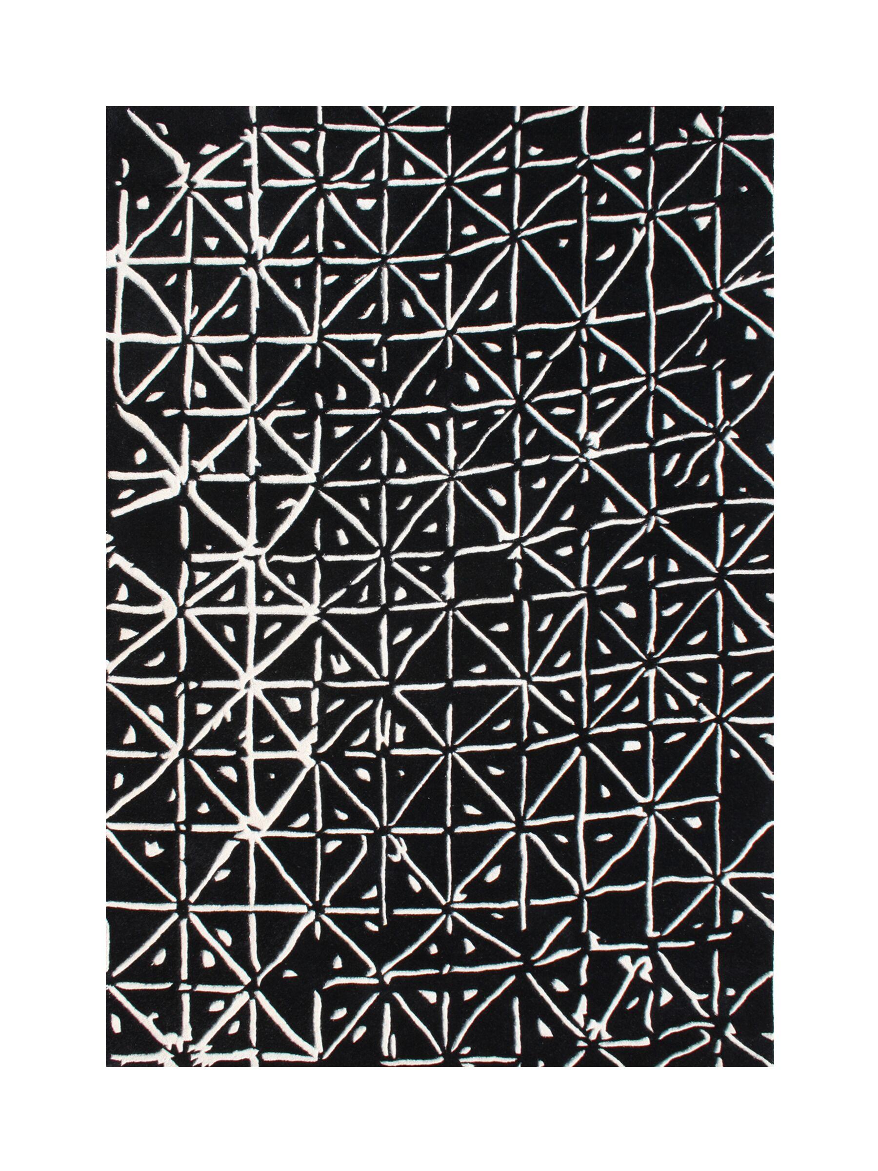 Wamic Hand-Tufted Black/White Area Rug Rug Size: Rectangle 9' x 12'