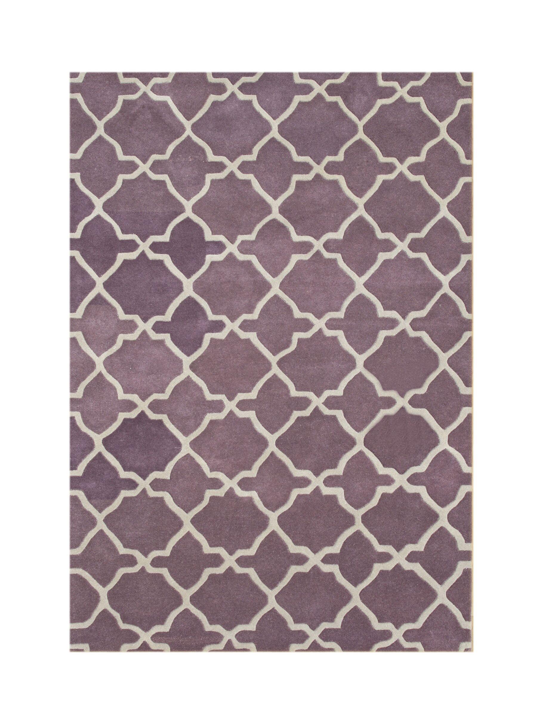 Wauna Hand-Tufted Purple/White Area Rug Rug Size: Rectangle 8' x 10'