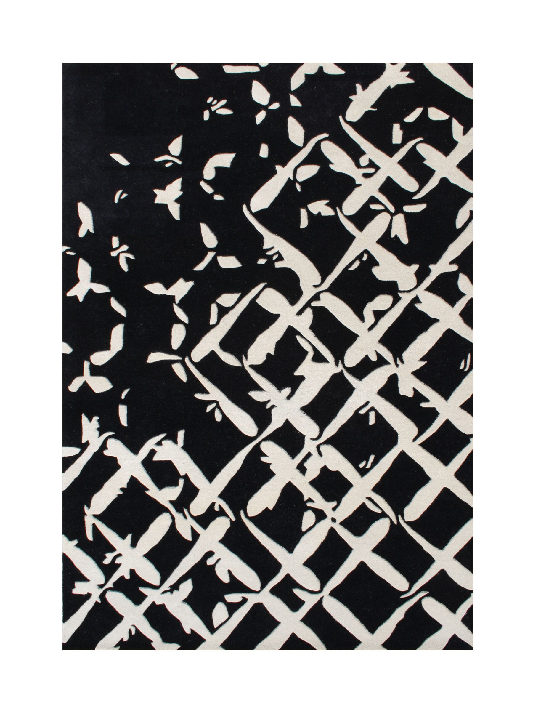 Wilbur Hand-Tufted Black/White Area Rug Rug Size: Rectangle 8' x 10'