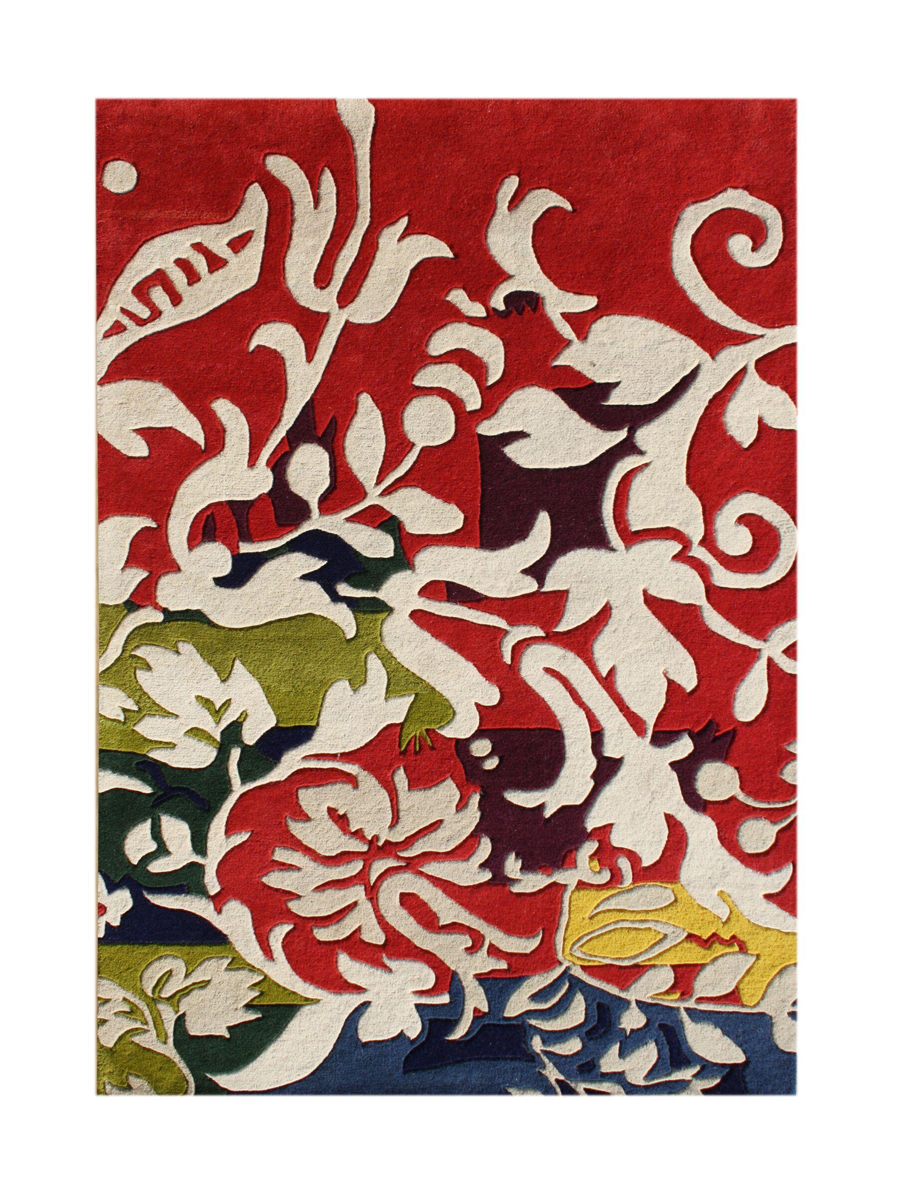 Tetonia Hand-Tufted Red/Cream Area Rug