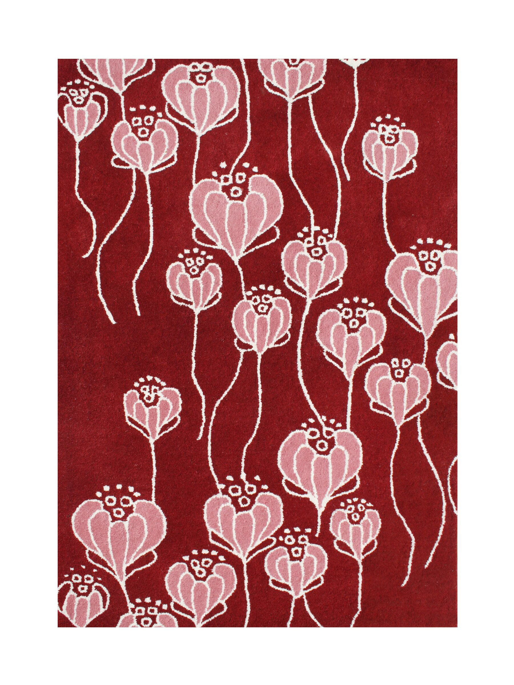 Mining Hand-Tufted Red Area Rug