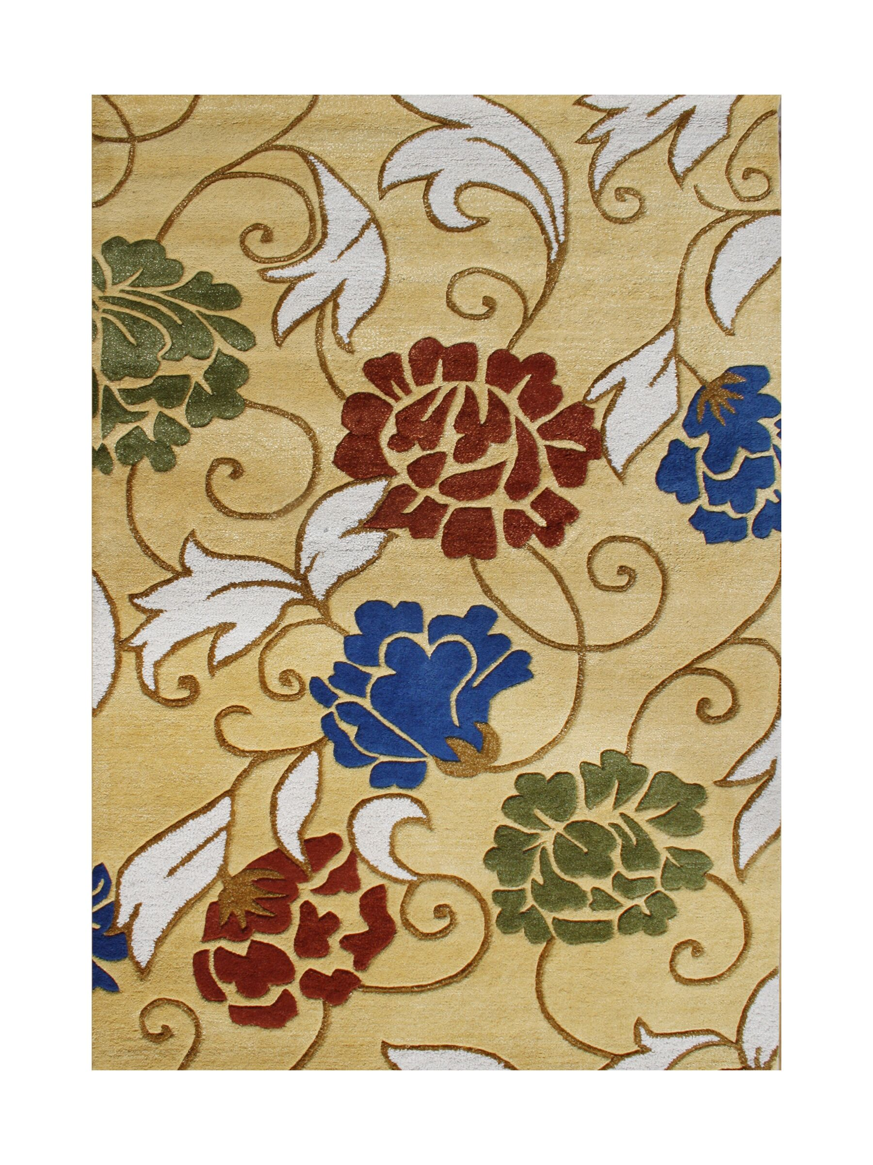 Cermenho Hand-Tufted Honey Gold Area Rug Rug Size: 8' x 10'