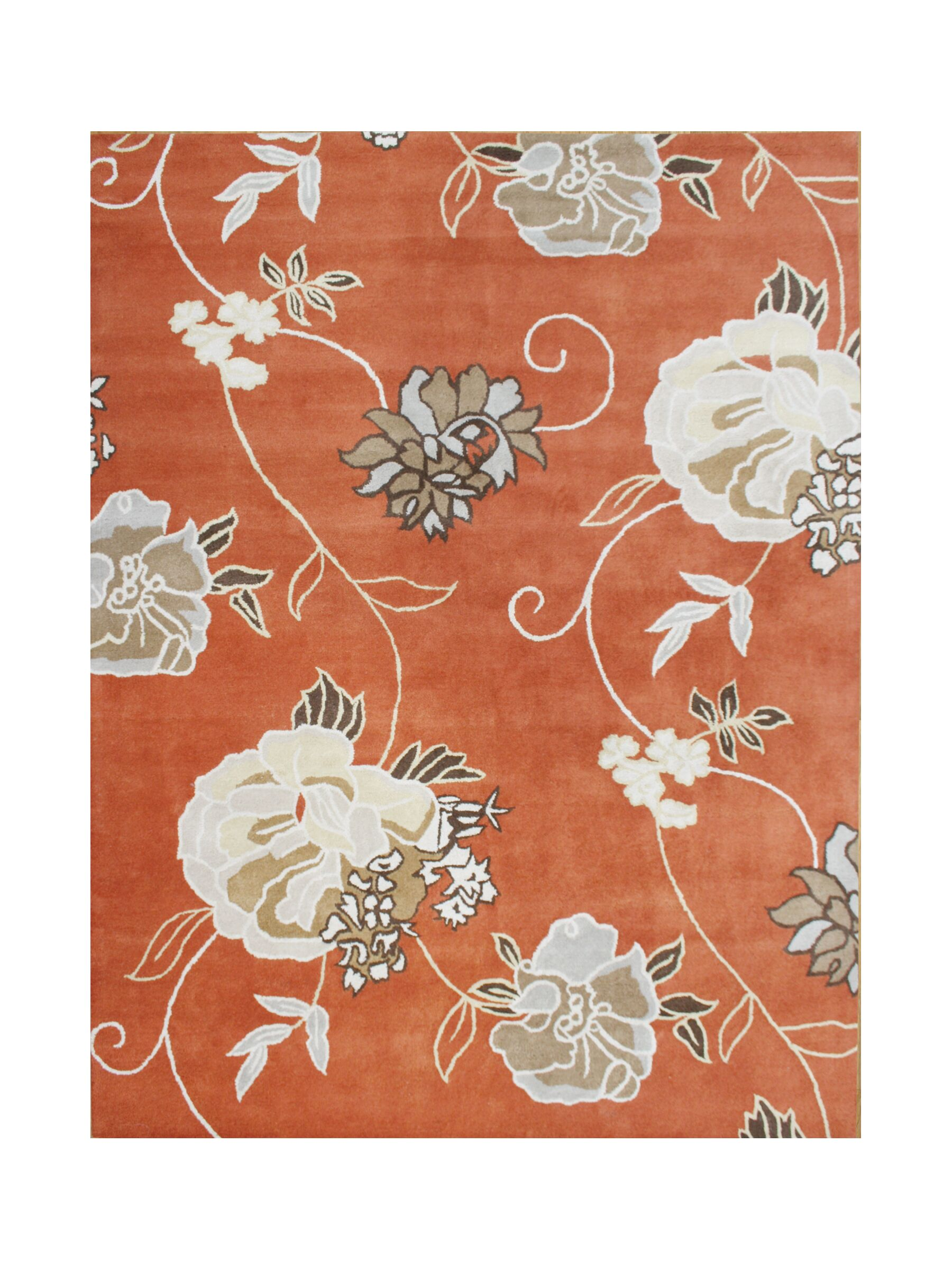 Gilbert Hand-Tufted Rust Area Rug Rug Size: Rectangle 8' x 10'