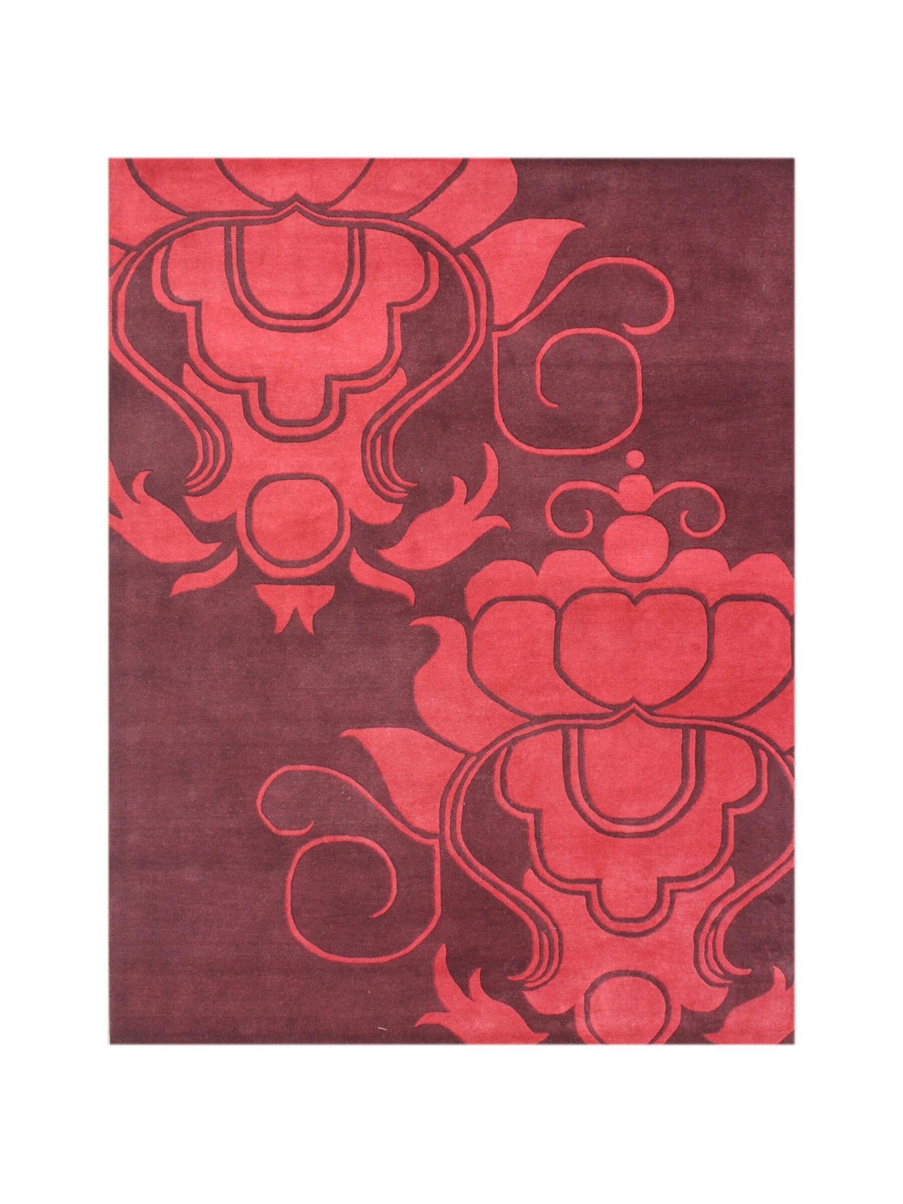 Amerigo Hand-Tufted Burgundy Area Rug Rug Size: 8' x 10'