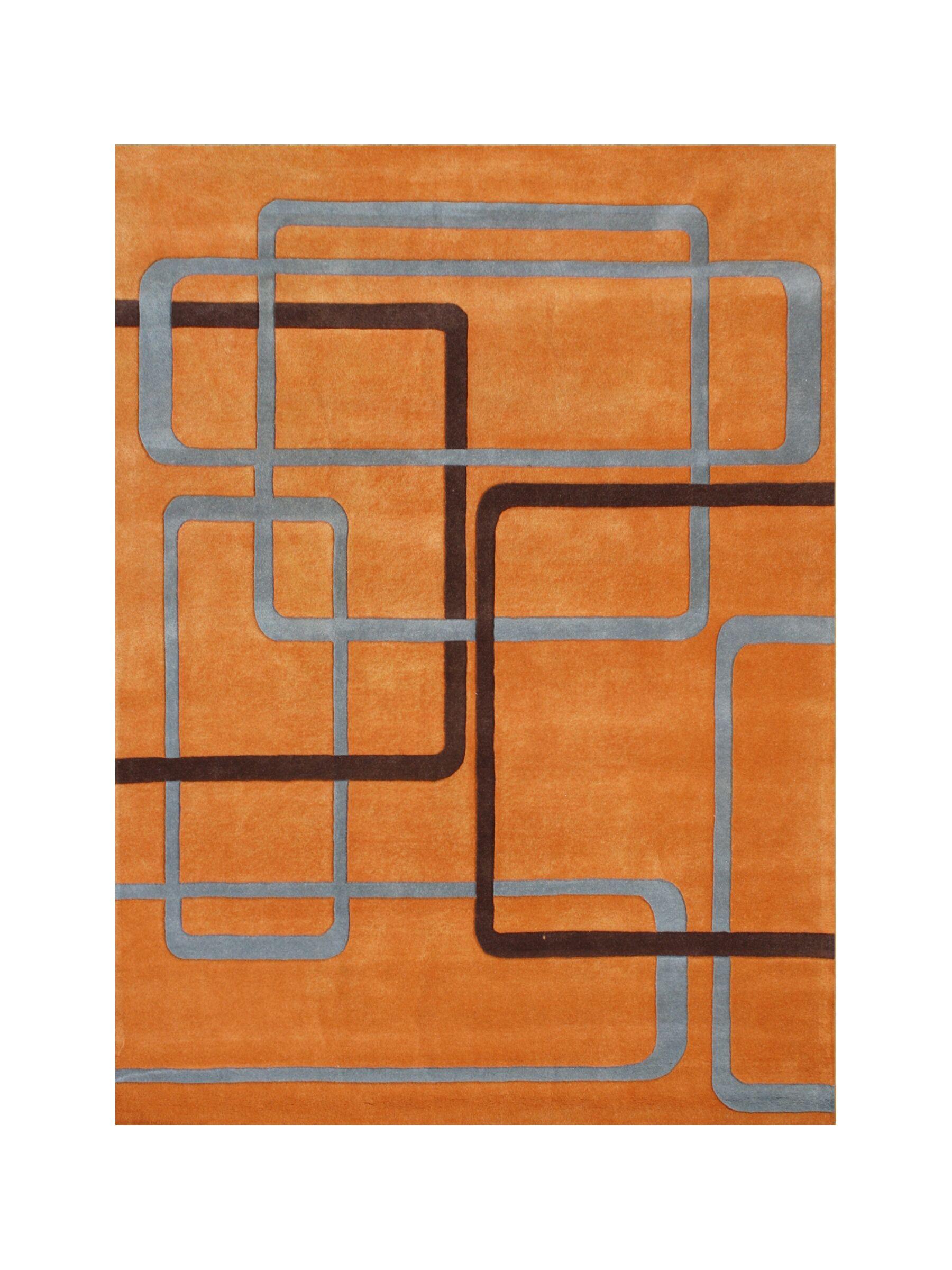 Akot Hand-Tufted Orange Area Rug Rug Size: 5' x 8'