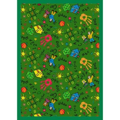 Green Area Rug Rug Size: 5'4