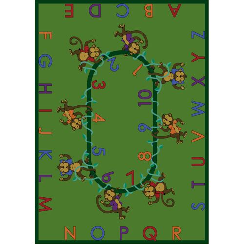 Monkey Business Green Area Rug Rug Size: Rectangle 7'8