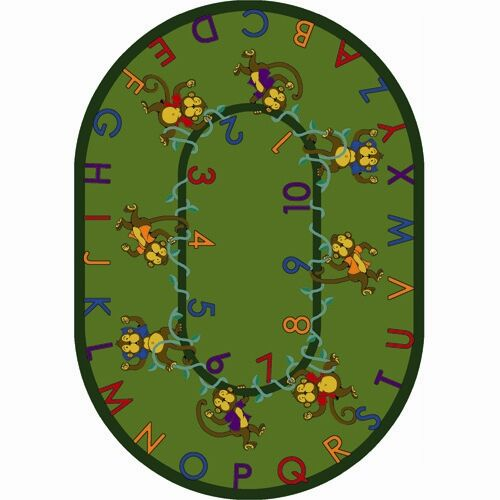 Monkey Business Green Area Rug Rug Size: Oval 7'8