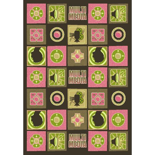 Green/Pink Area Rug Rug Size: 7'8