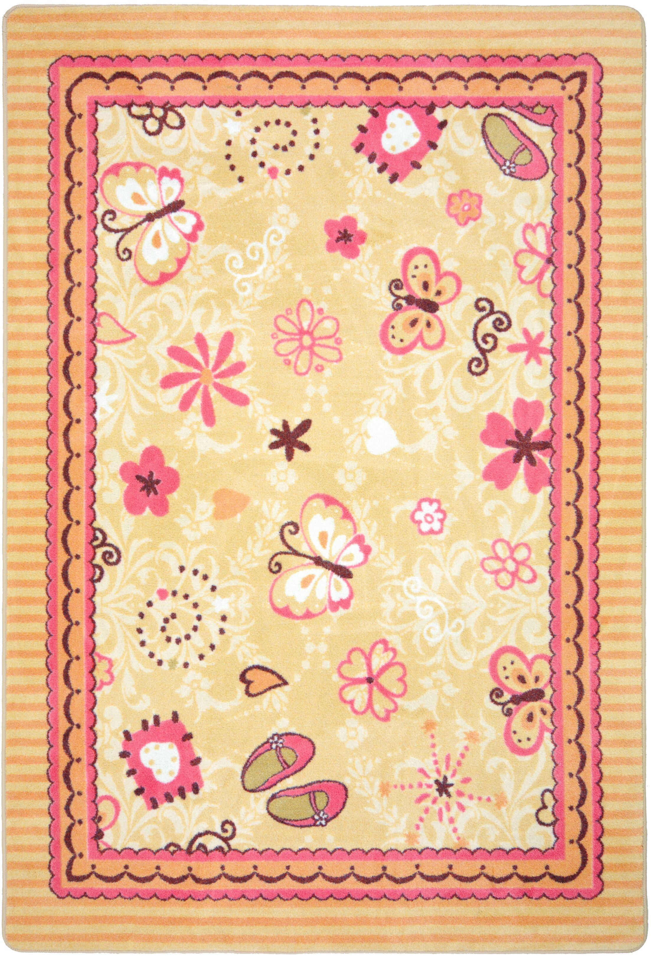 Beige/Pink Area Rug Rug Size: 3'10