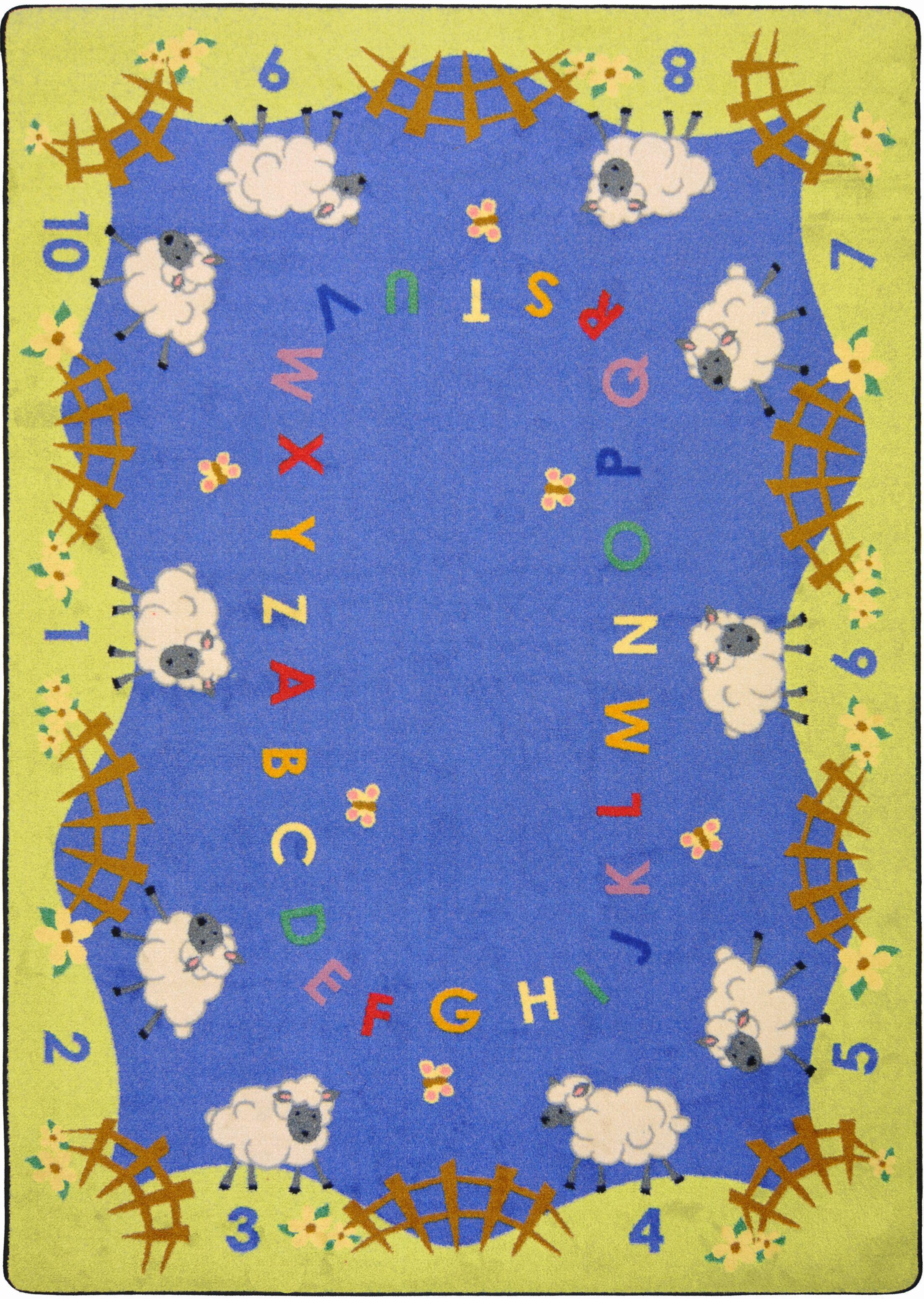 Hand-Tufled Blue/Green Kids Rug Rug Size: Rectangle 7'8