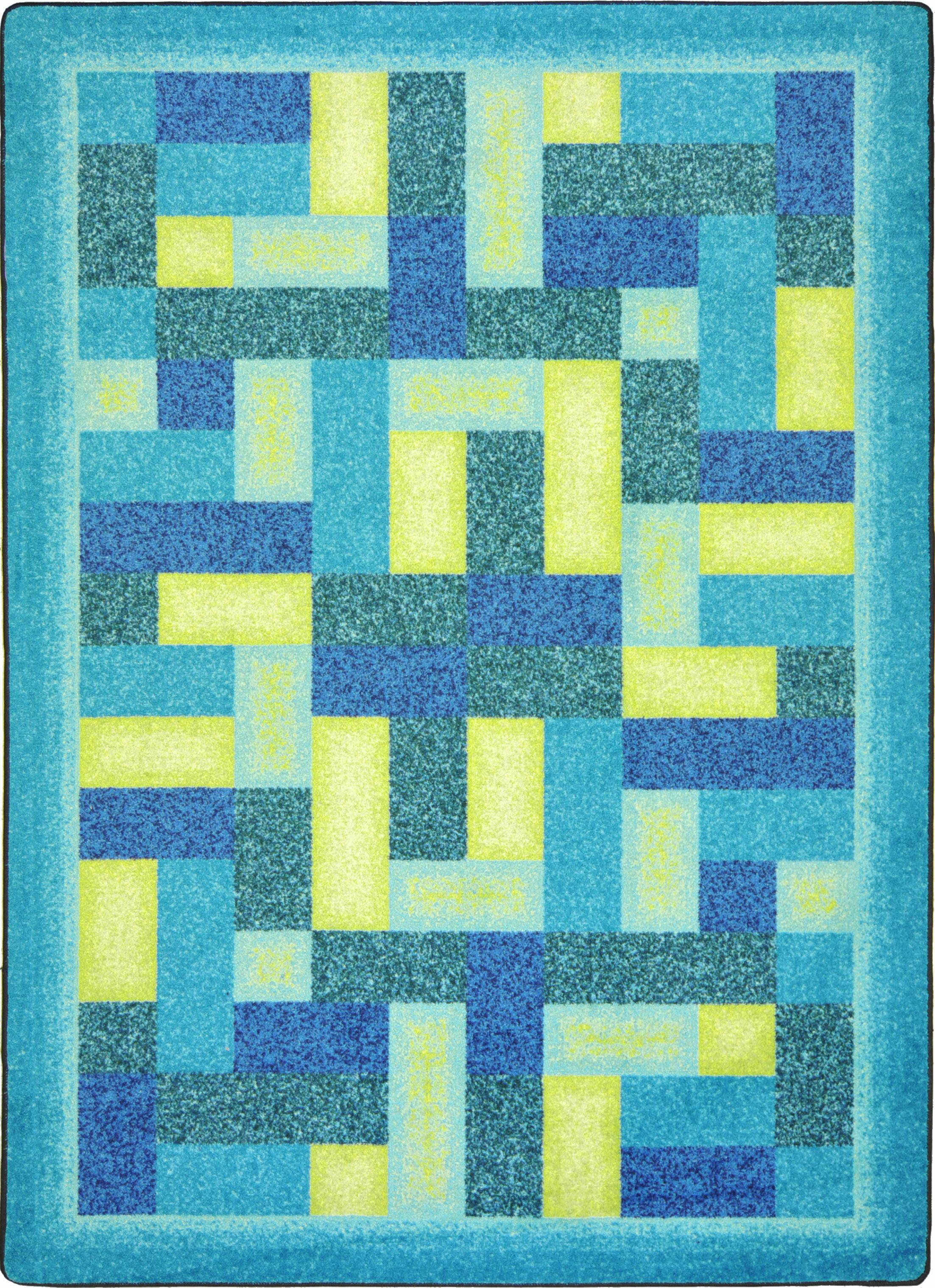 Hand-Tufled Blue Area Rug Rug Size: 5'4