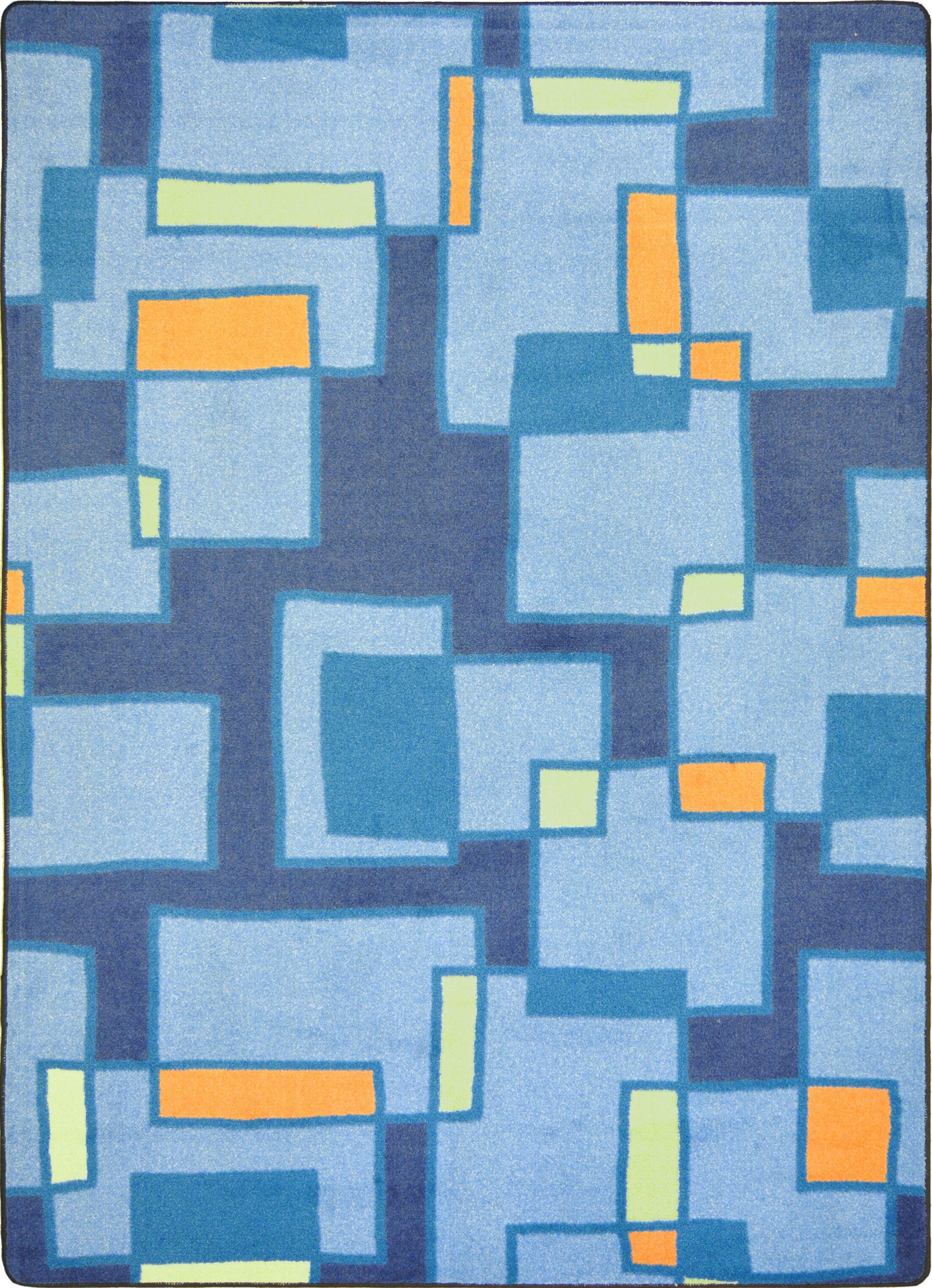 Hand-Tufled Blue Area Rug Rug Size: 3'10
