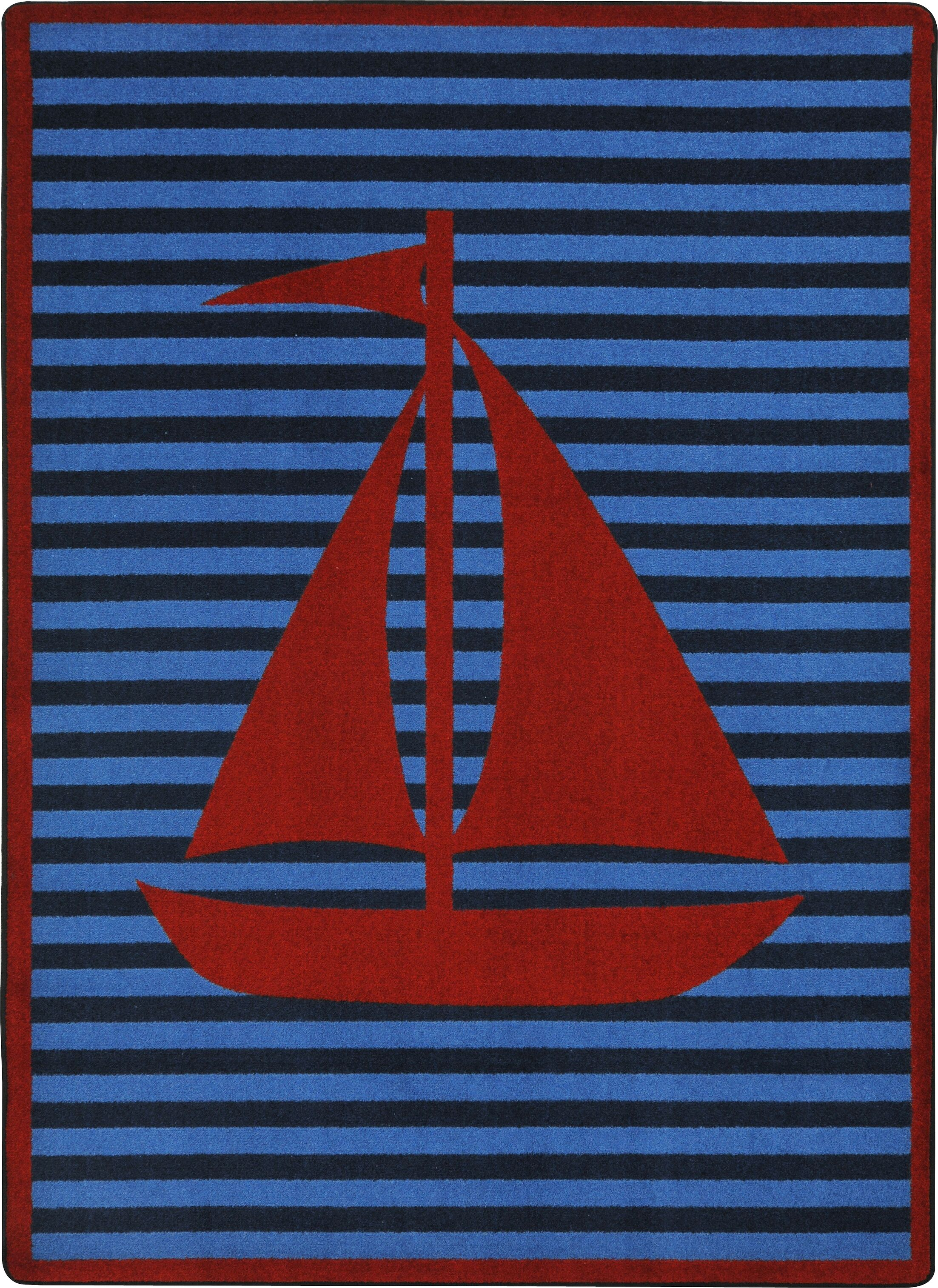 Blue/Red Area Rug Rug Size: Rectangle 5'4