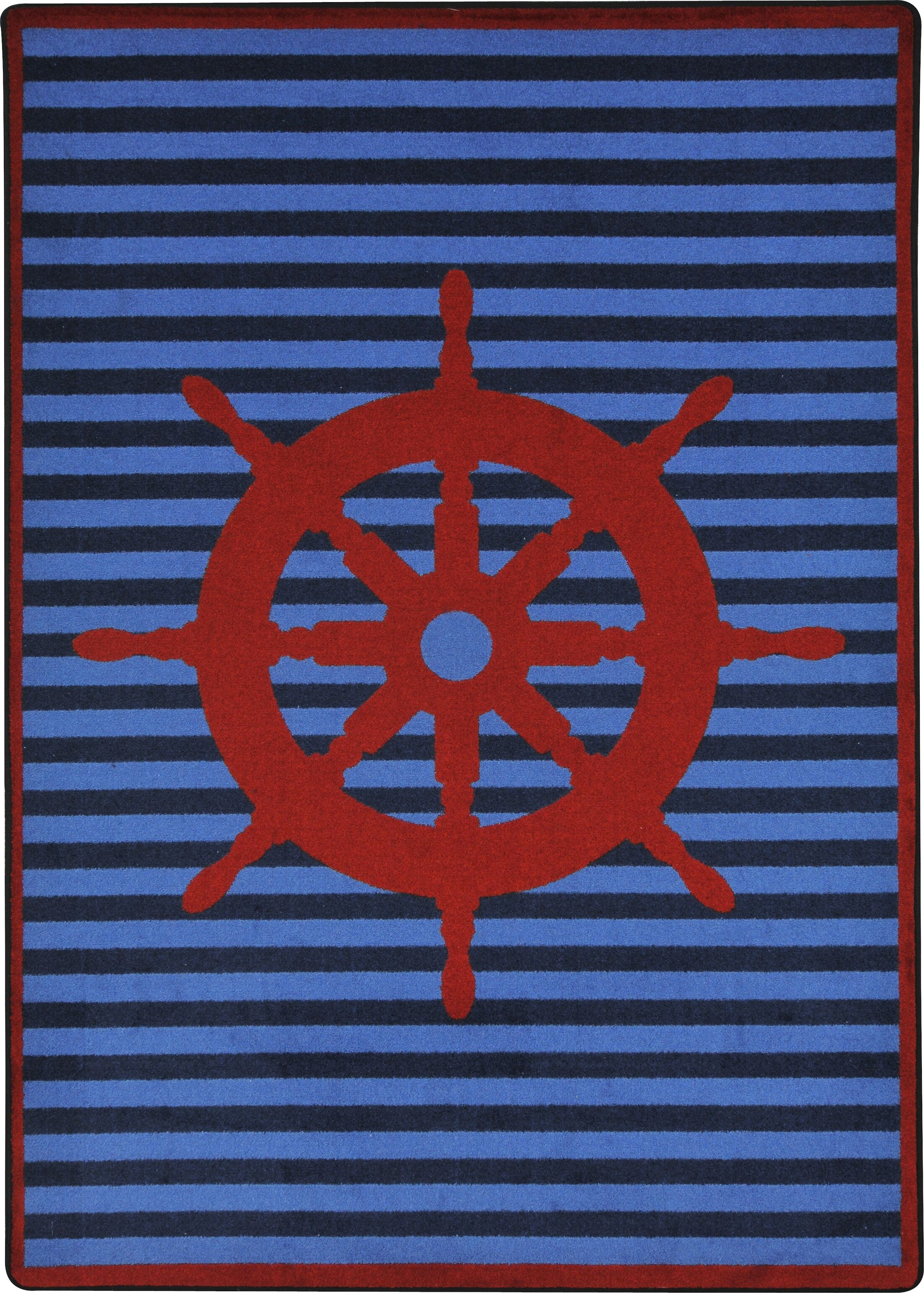 Blue/Red Area Rug Rug Size: Rectangle 3'10