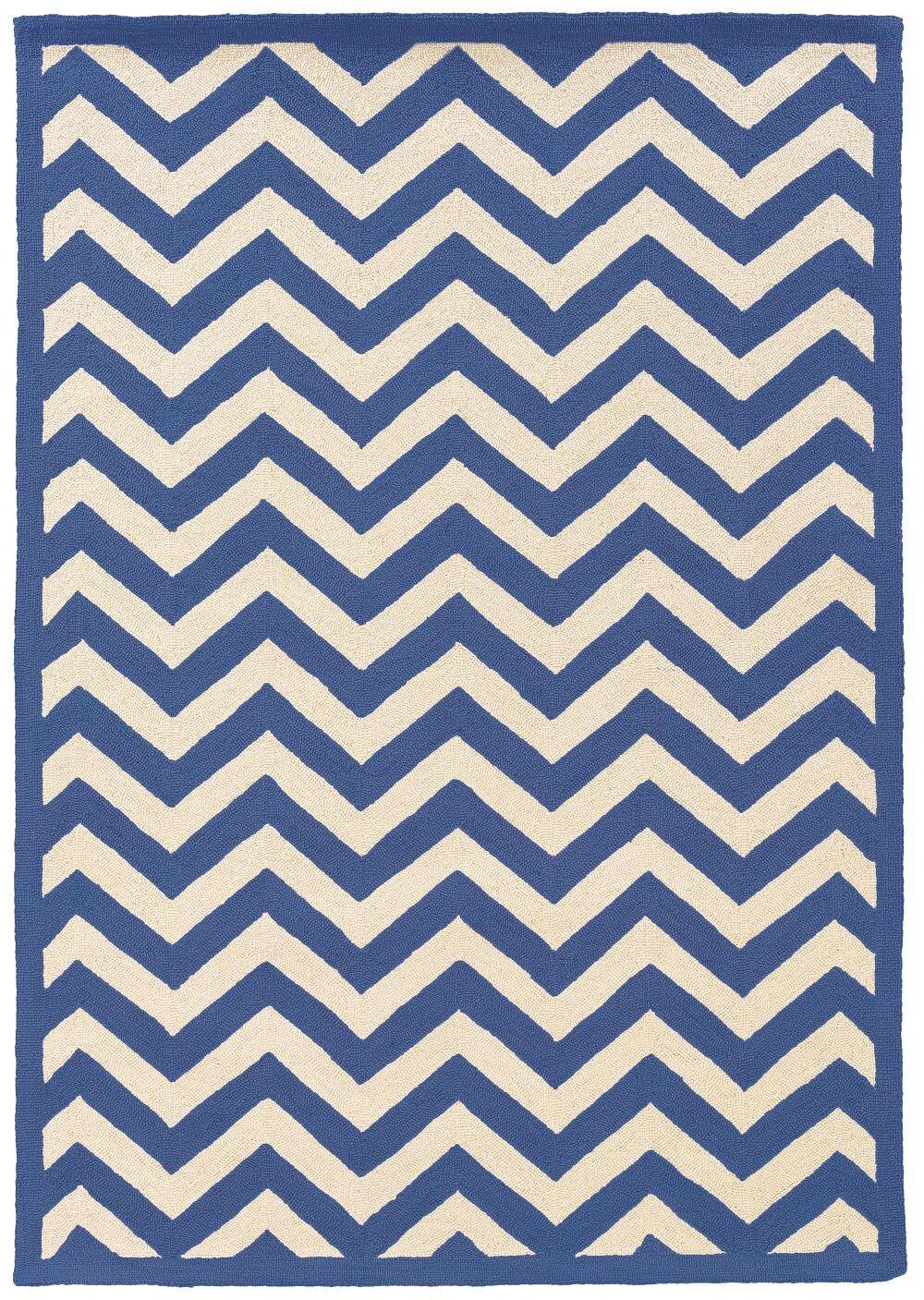 Hand-Hooked Blue/Ivory Area Rug Rug Size: Rectangle 8' x 10'