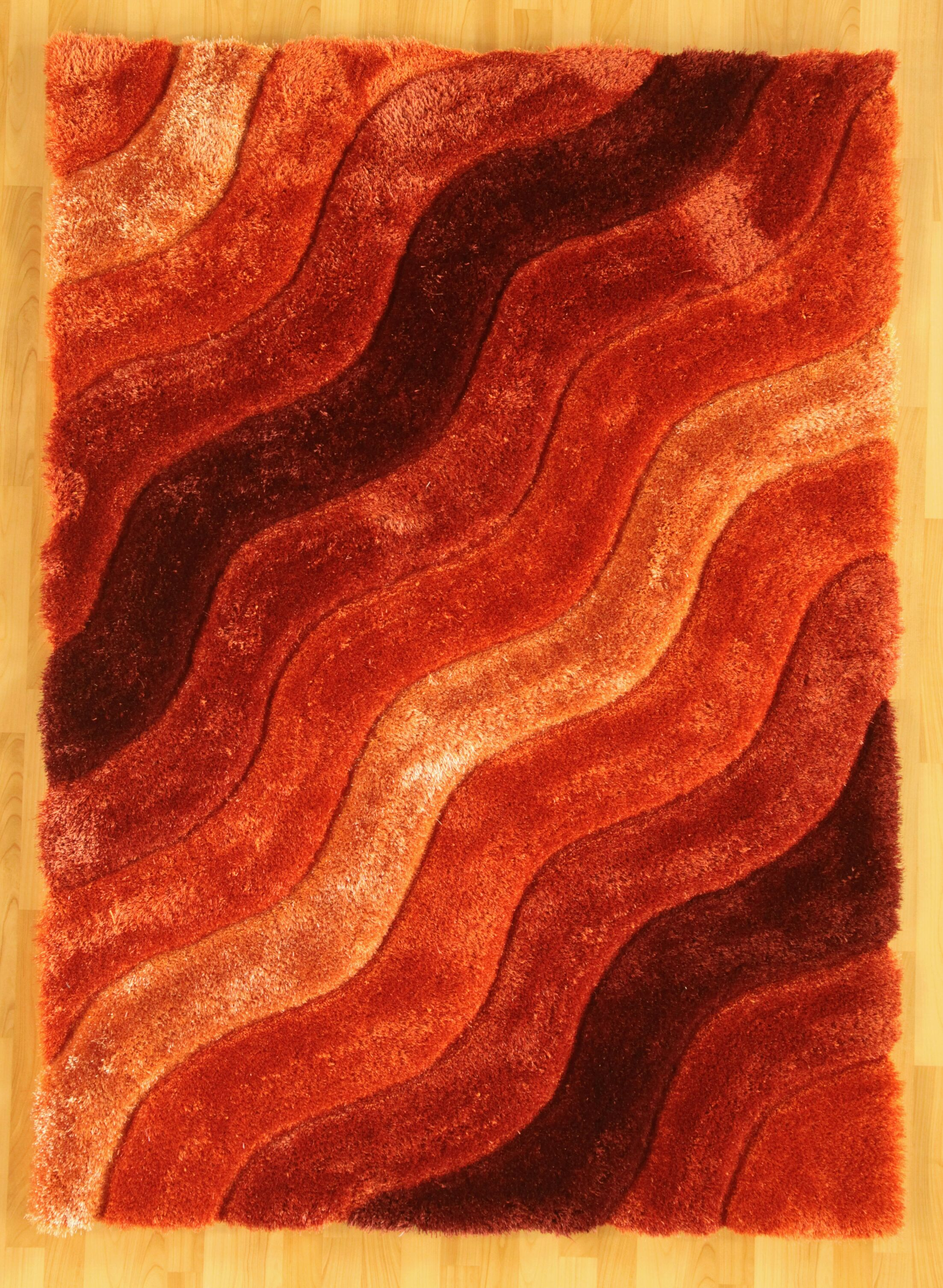 Hand-Tufted Orange/Red Area Rug Rug Size: Rectangle 5' x 7'