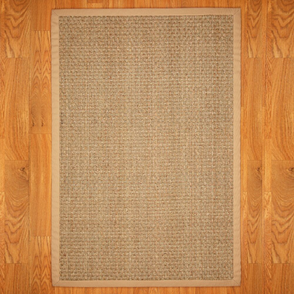 Alland Plaid Hand-Woven Seagrass Khaki Indoor Area Rug Rug Size: Rectangle 8' x 10'