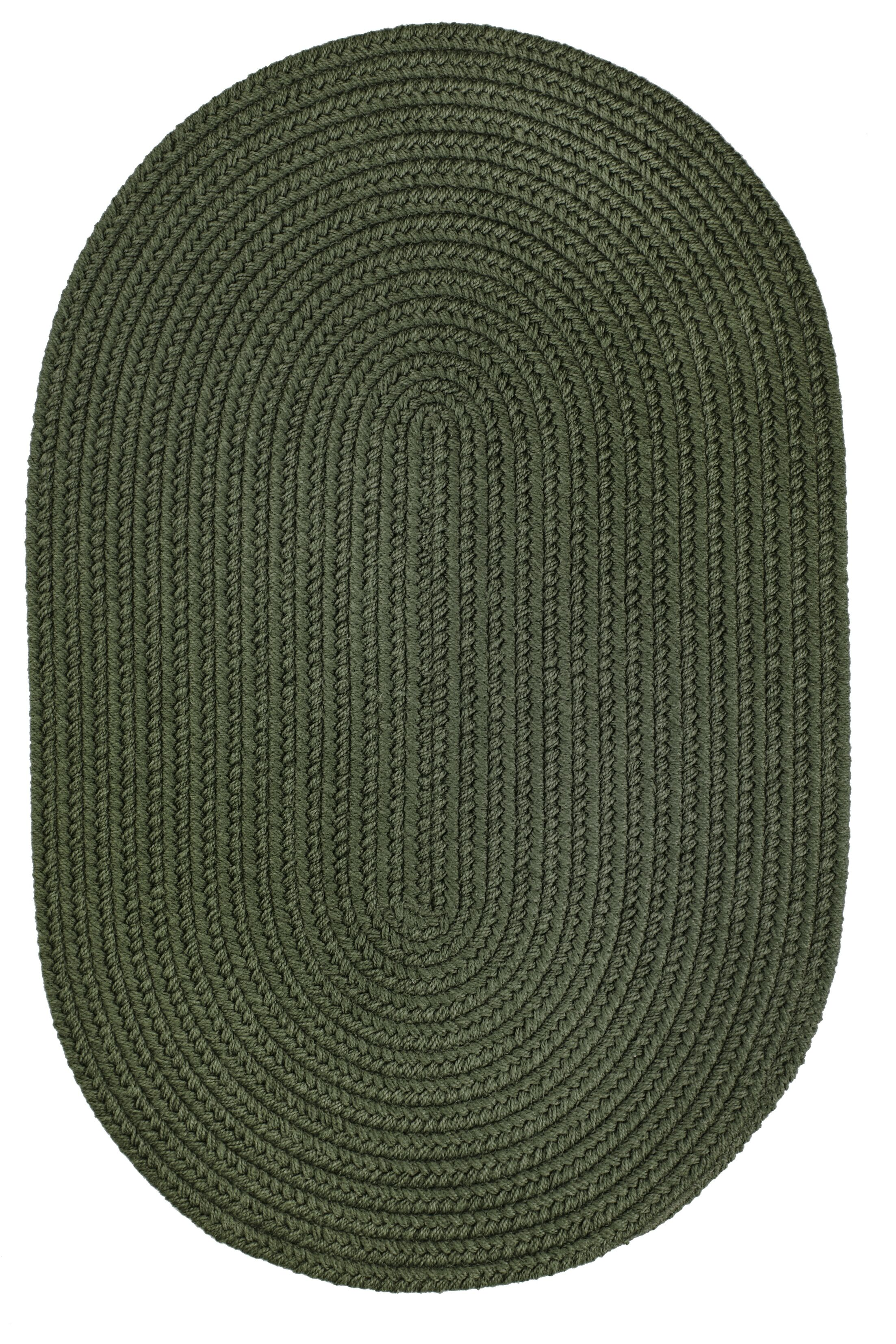 Handmade Dark Sage Indoor/Outdoor Area Rug Rug Size: Oval 3' x 5'