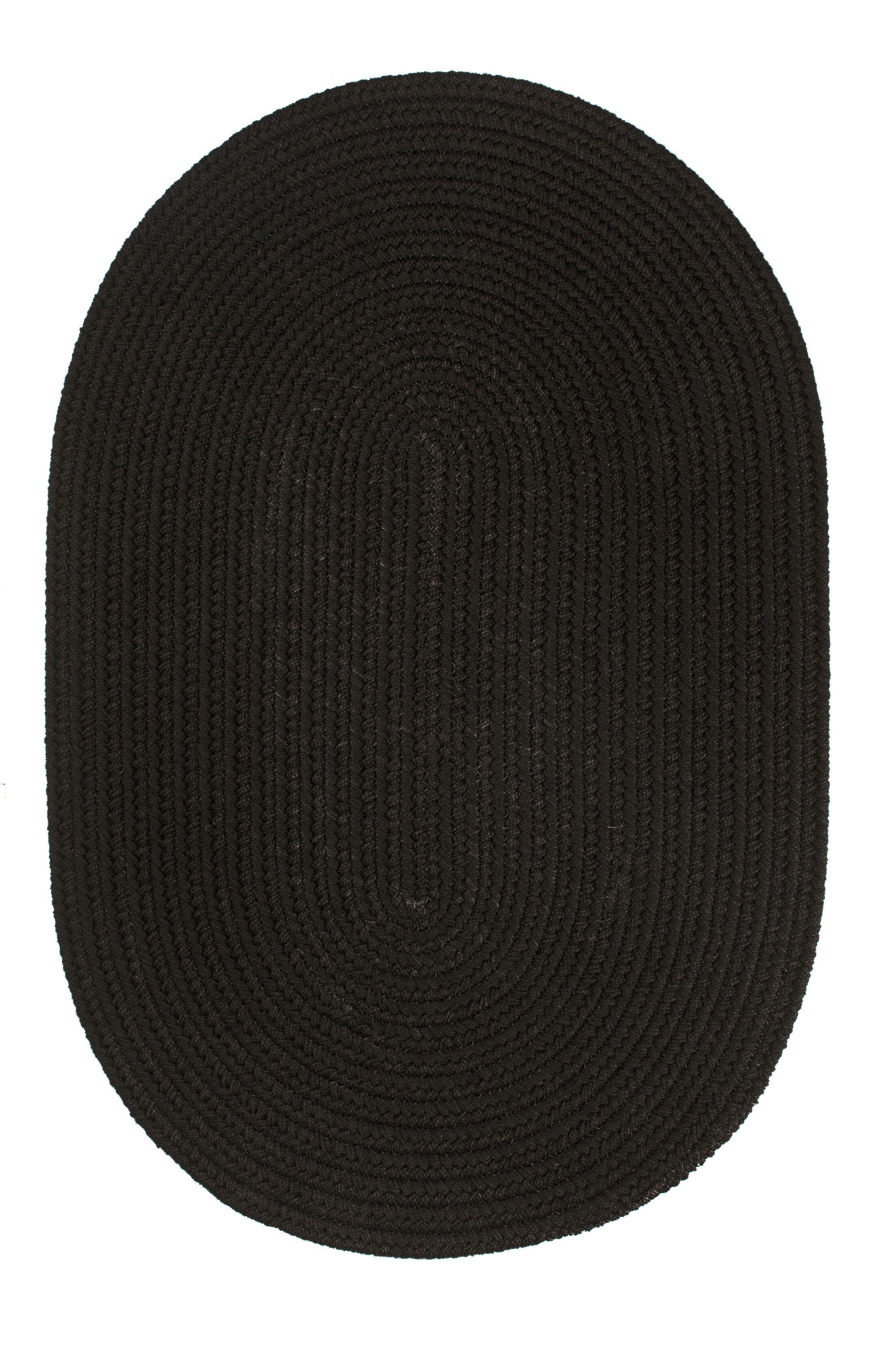 Handmade Black Indoor/Outdoor Area Rug Rug Size: Oval 4' x 6'