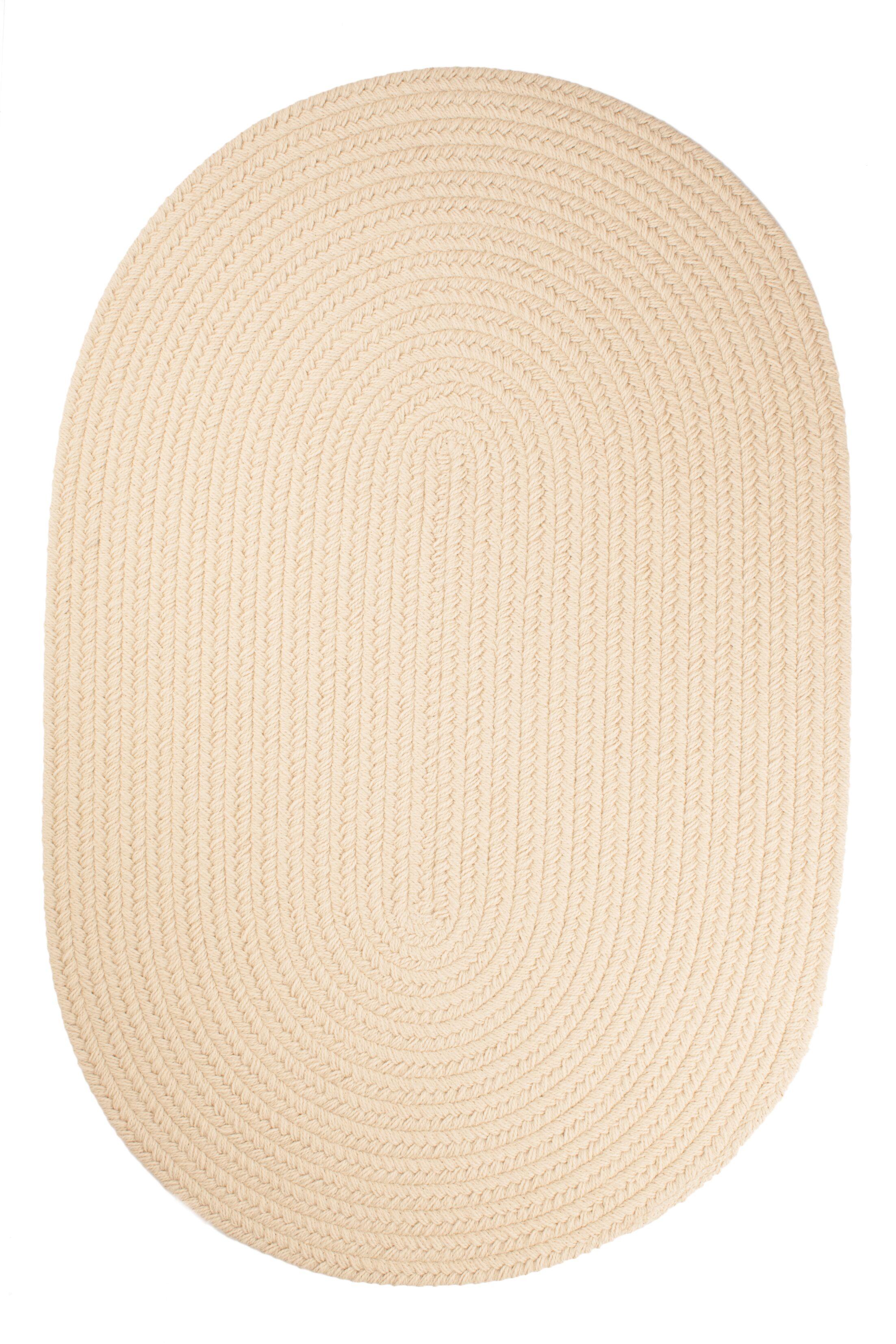 Handmade Cream Indoor/Outdoor Area Rug Rug Size: Oval 4' x 6'