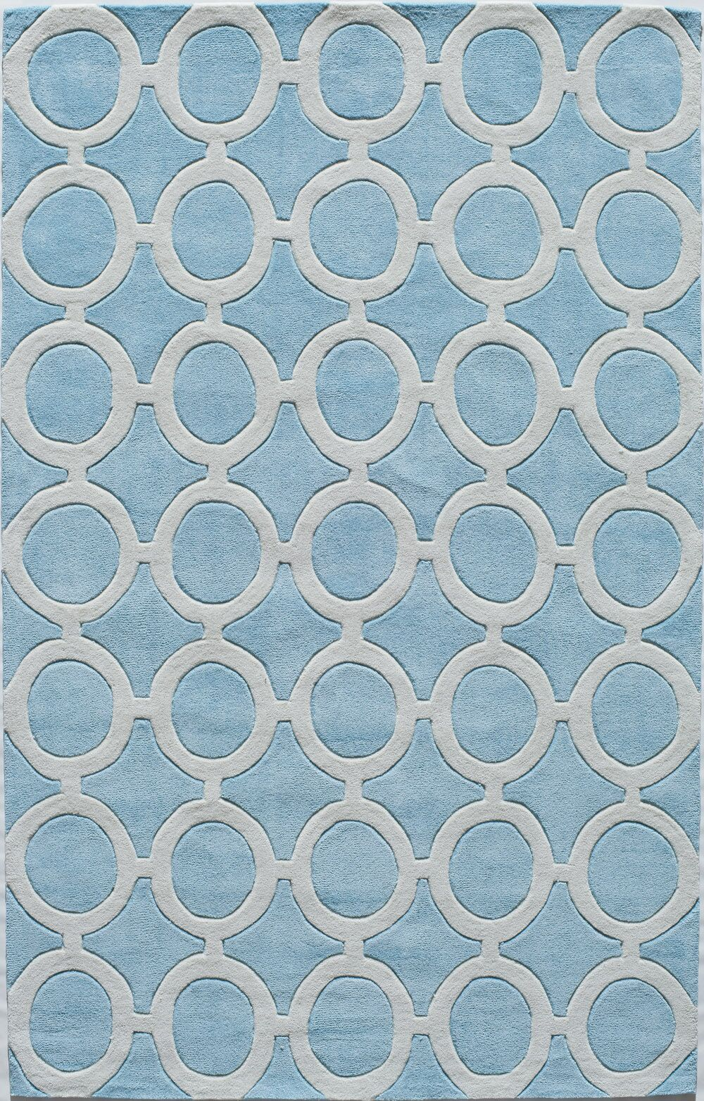 Hand-Tufted Light Blue Area Rug Rug Size: Rectangle 8' x 10'