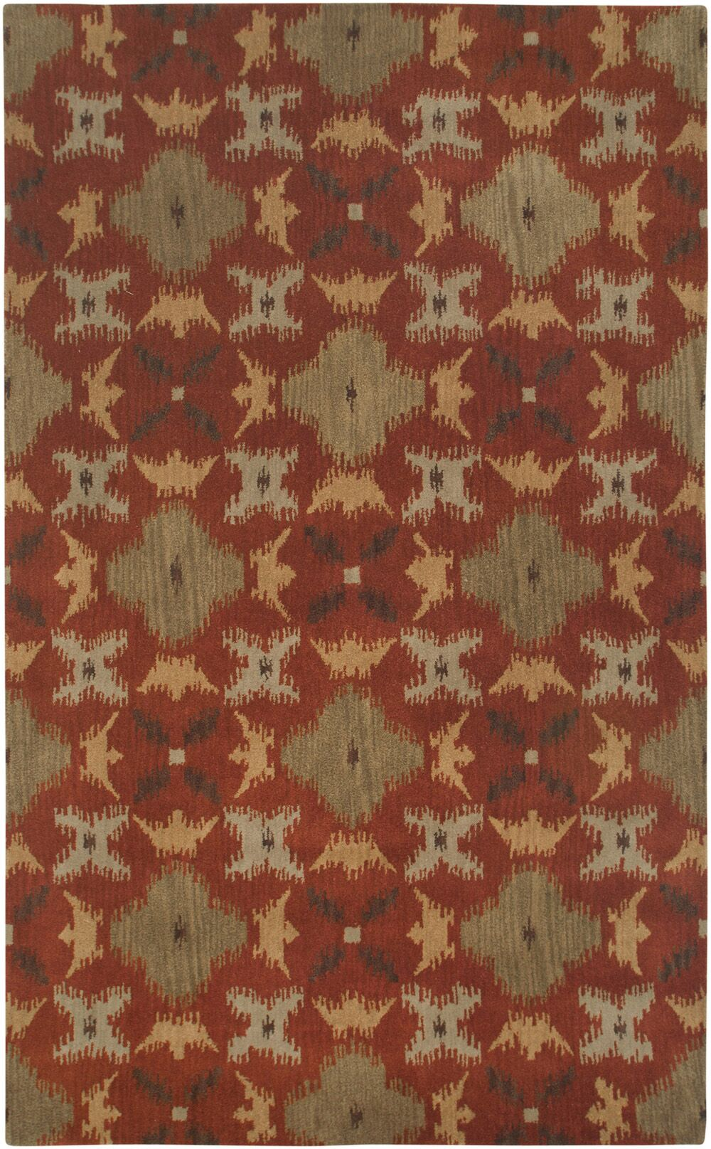 Hand-Tufted Rust Area Rug Rug Size: Rectangle 8' x 10'