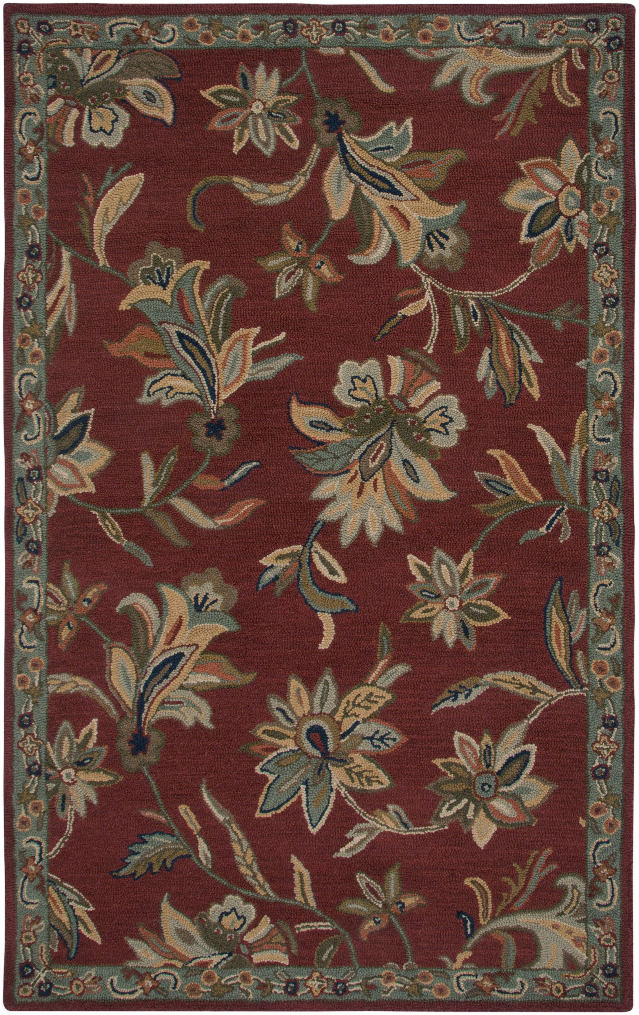 Hand-Tufted Red/Green Area Rug Rug Size: Round 8'