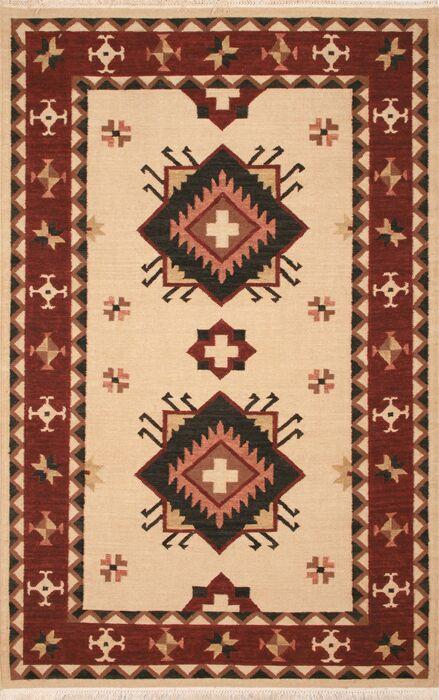 Hand-Woven Beige/Burgundy Area Rug Rug Size: Rectangle 8' x 10'