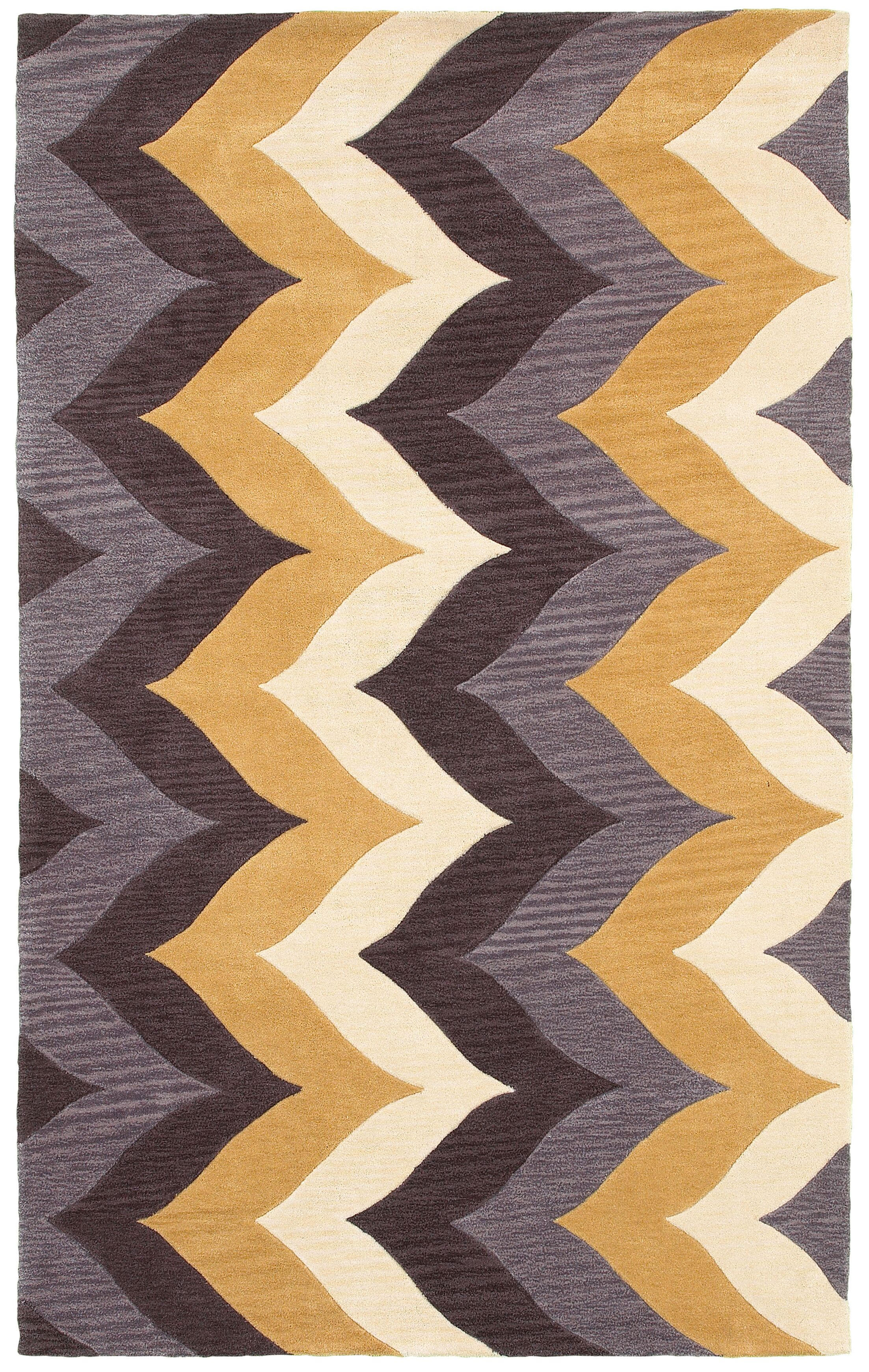 Hand-Tufted Brown/Gold Area Rug Rug Size: Rectangle 3' x 5'