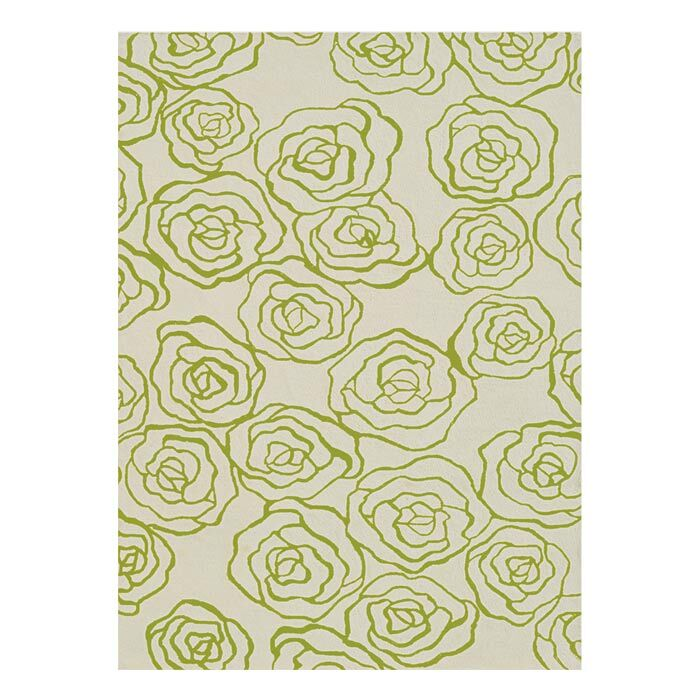 Hand-Hooked Green Area Rug Rug Size: Rectangle 5' x 8'