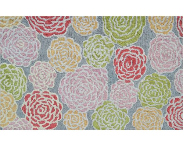 Hand-Hooked Pink/Green Area Rug Rug Size: Rectangle 2'8
