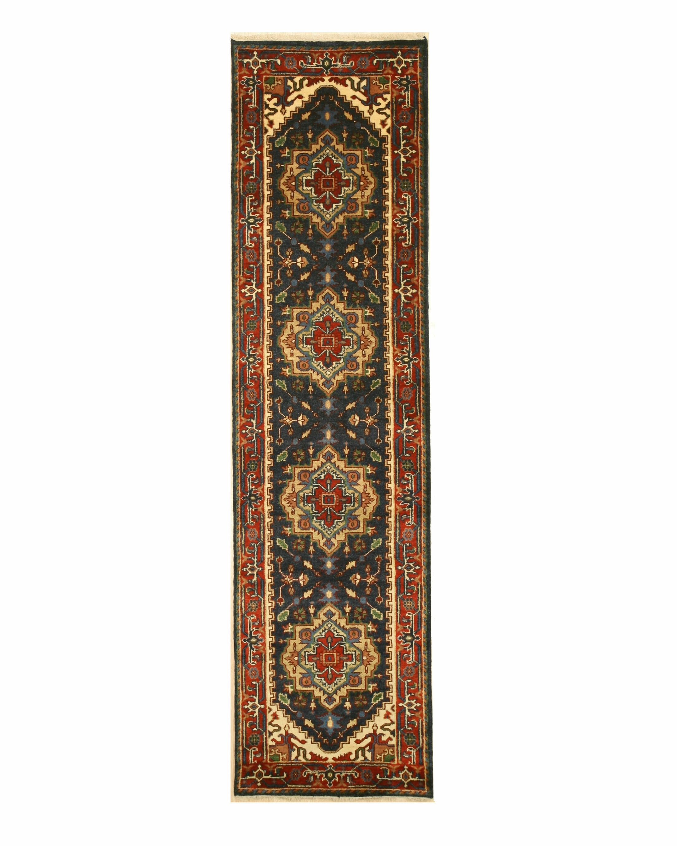 Geoffrey Hand Knotted Navy Area Rug Rug Size: Runner 2'6