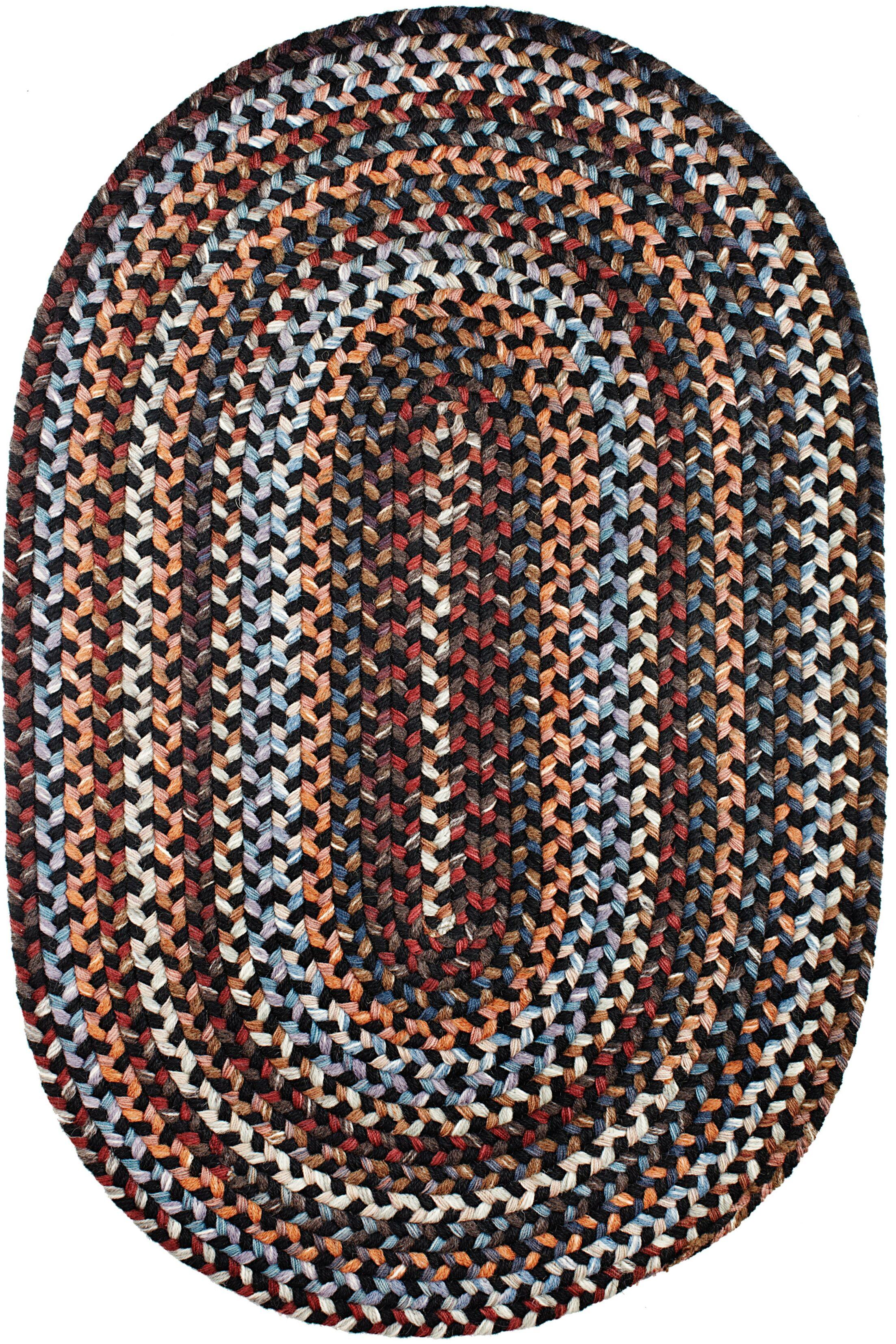 Handmade Black Area Rug Rug Size: Oval 7' x 9'
