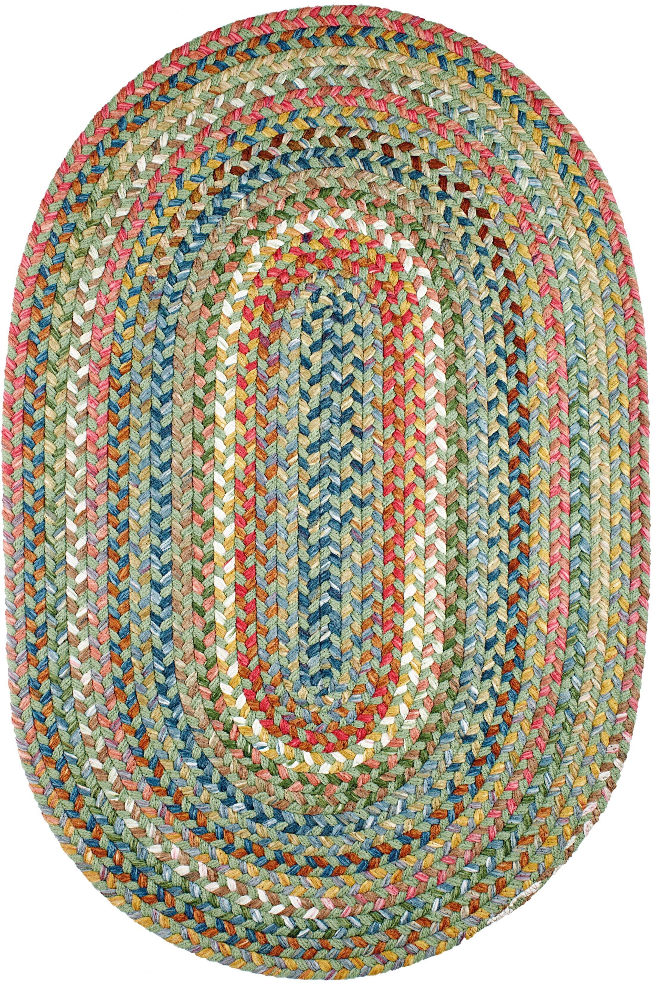 Handmade Peridot Indoor/Outdoor Area Rug Rug Size: Oval 3' x 5'