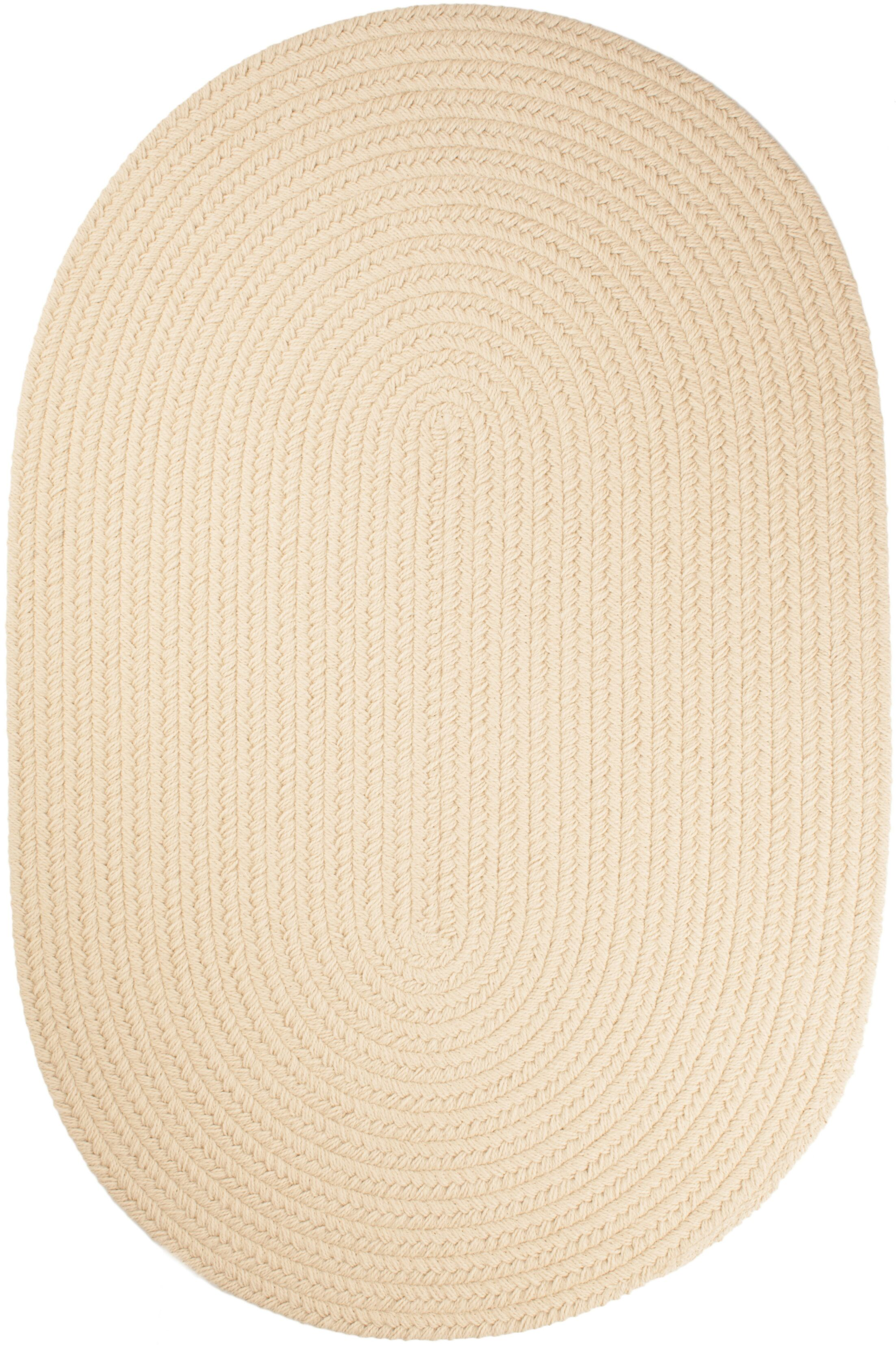 Handmade Cream Indoor/Outdoor Area Rug Rug Size: Oval 8' x 11'
