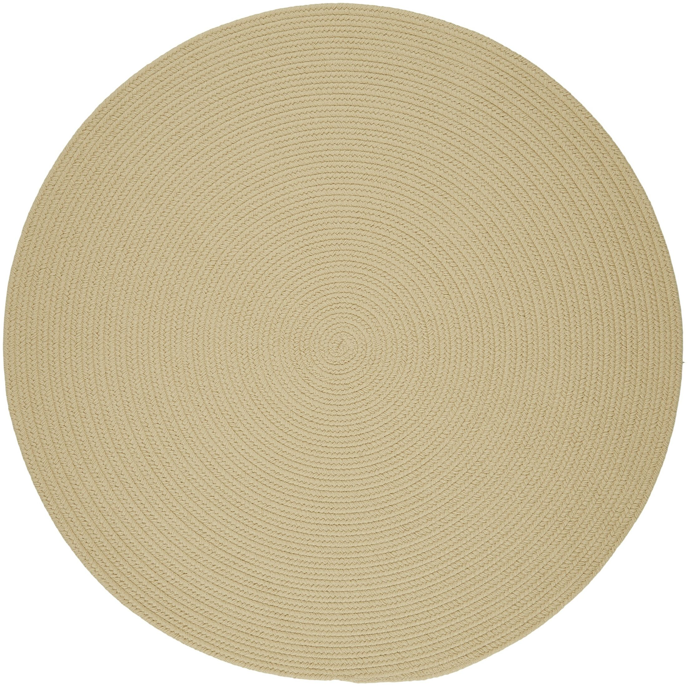 Handmade Cream Indoor/Outdoor Area Rug Rug Size: Round 8'