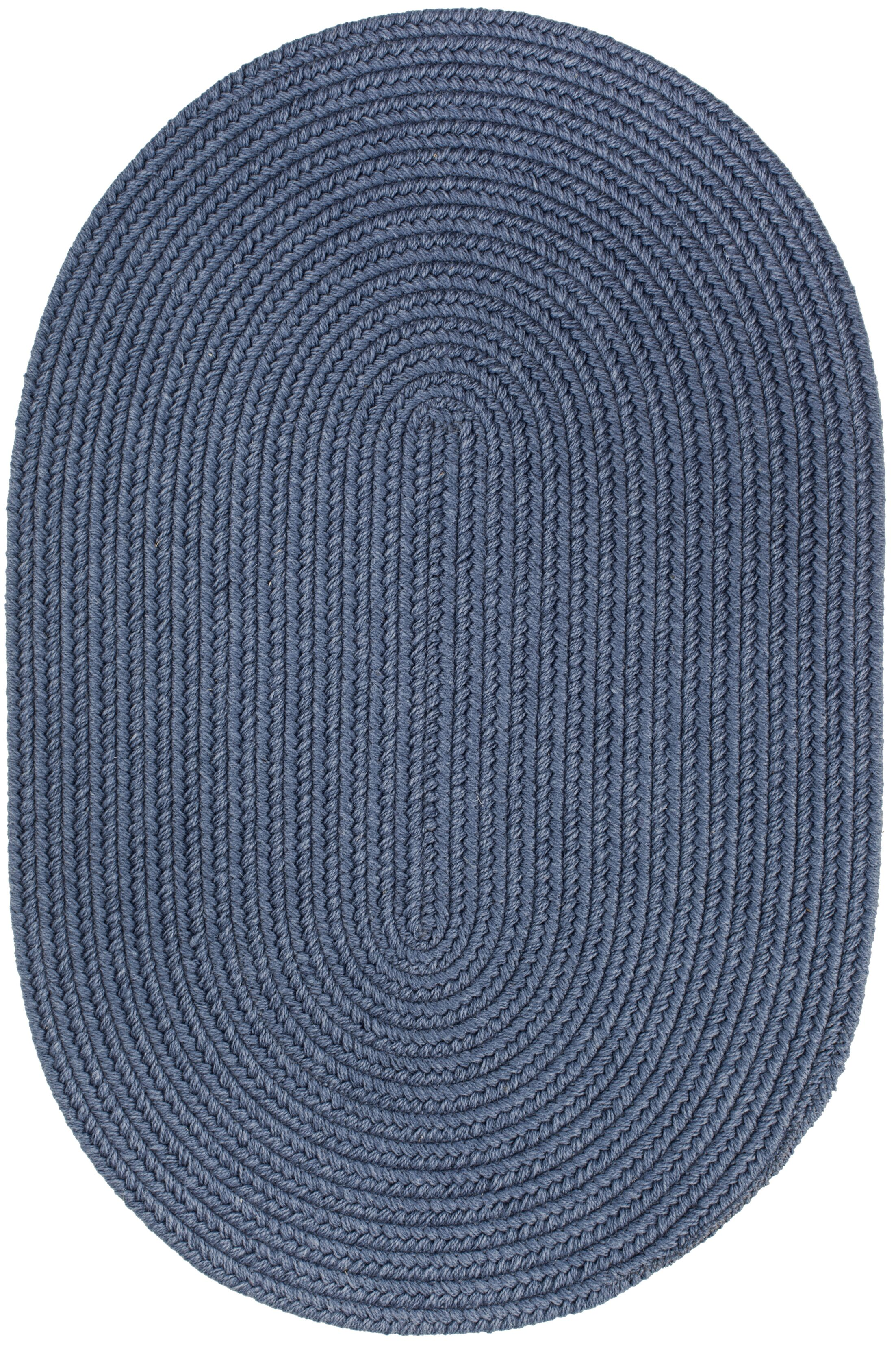 Handmade Sailor Blue Area Rug Rug Size: Oval  3' x 5'