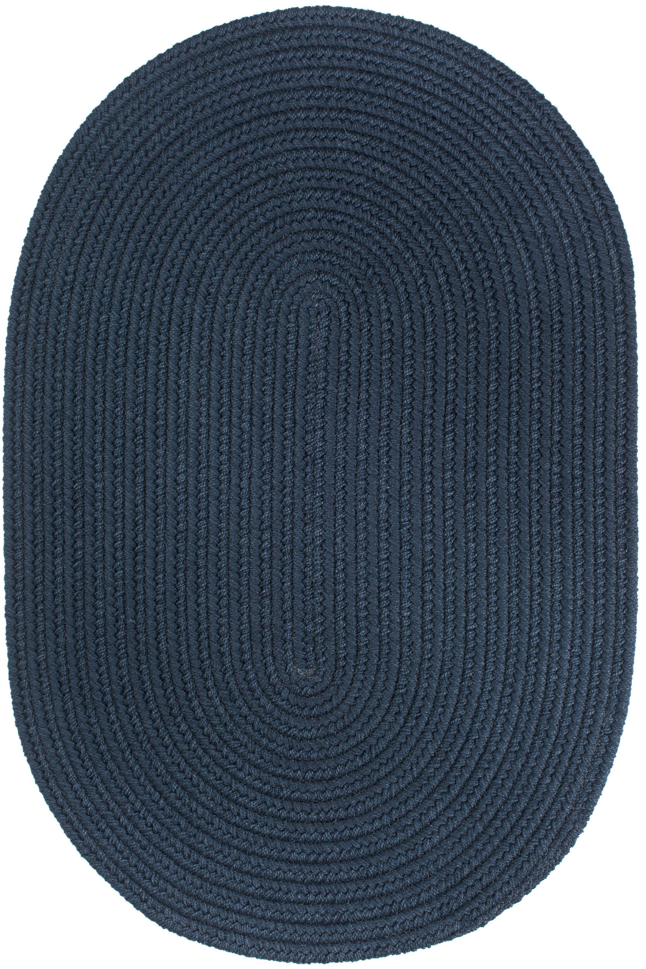Handmade Navy Indoor/Outdoor Area Rug Rug Size: Oval  8' x 11'
