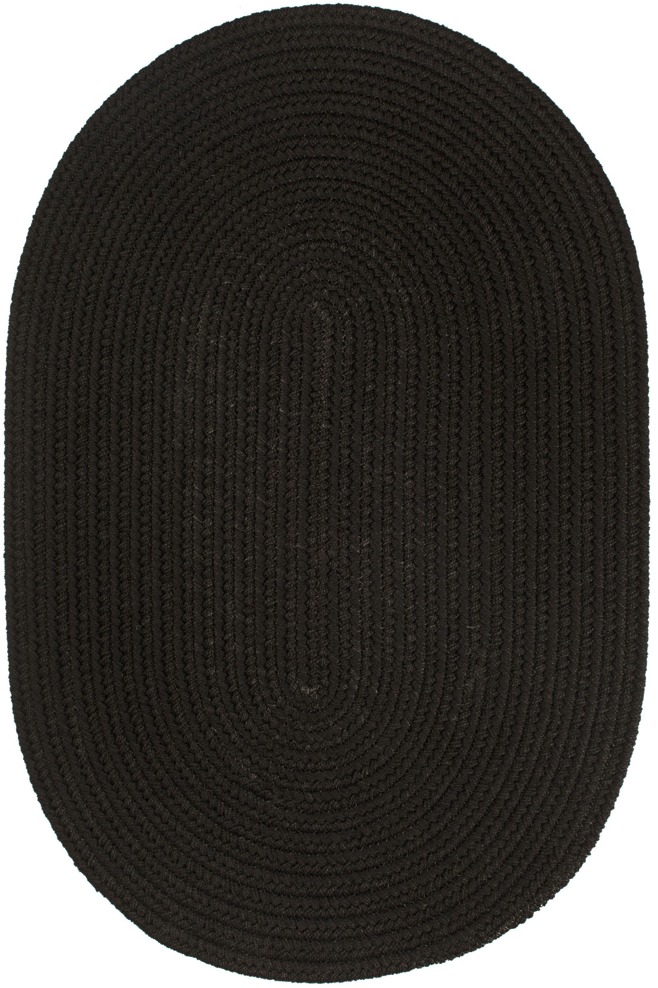 Handmade Black Indoor/Outdoor Area Rug Rug Size: Oval 10' x 13'
