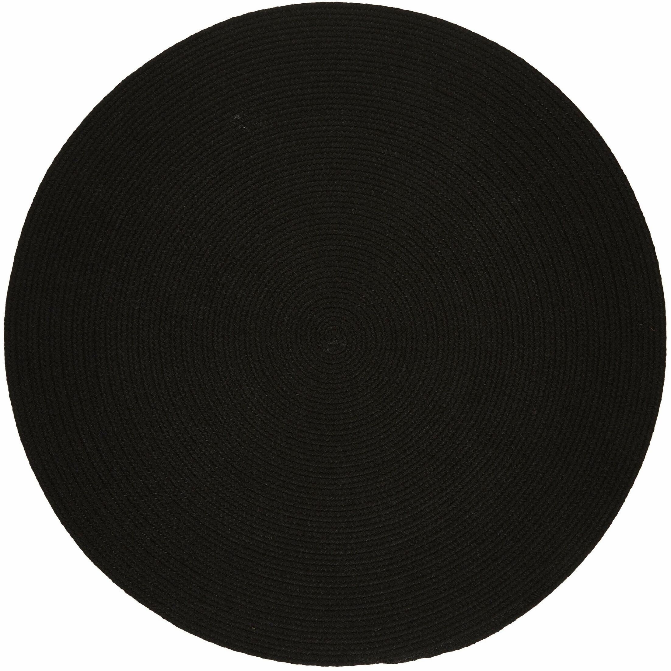 Handmade Black Indoor/Outdoor Area Rug Rug Size: Round 4'