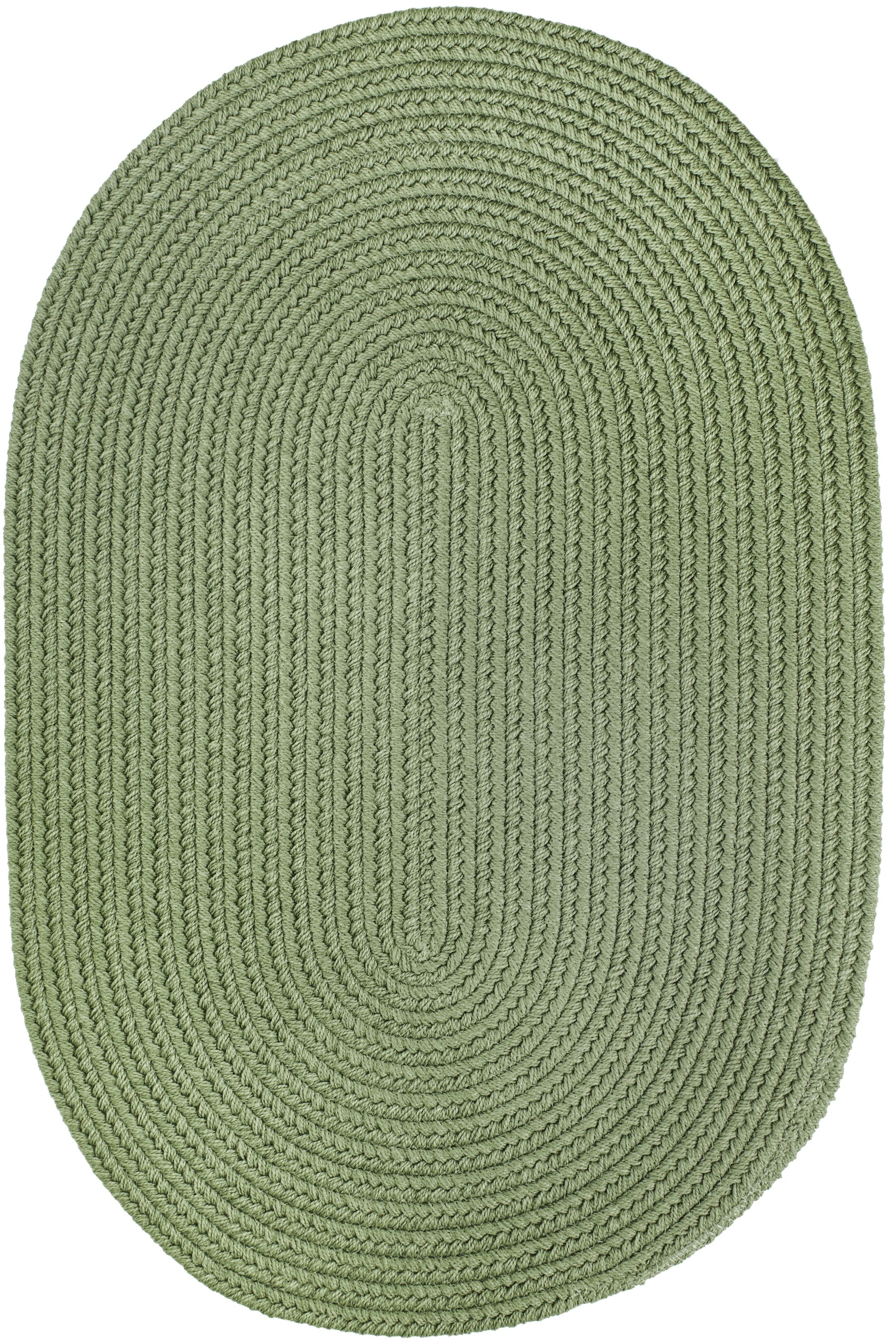 Handmade Olive Indoor/Outdoor Area Rug Rug Size: Oval  10' x 13'