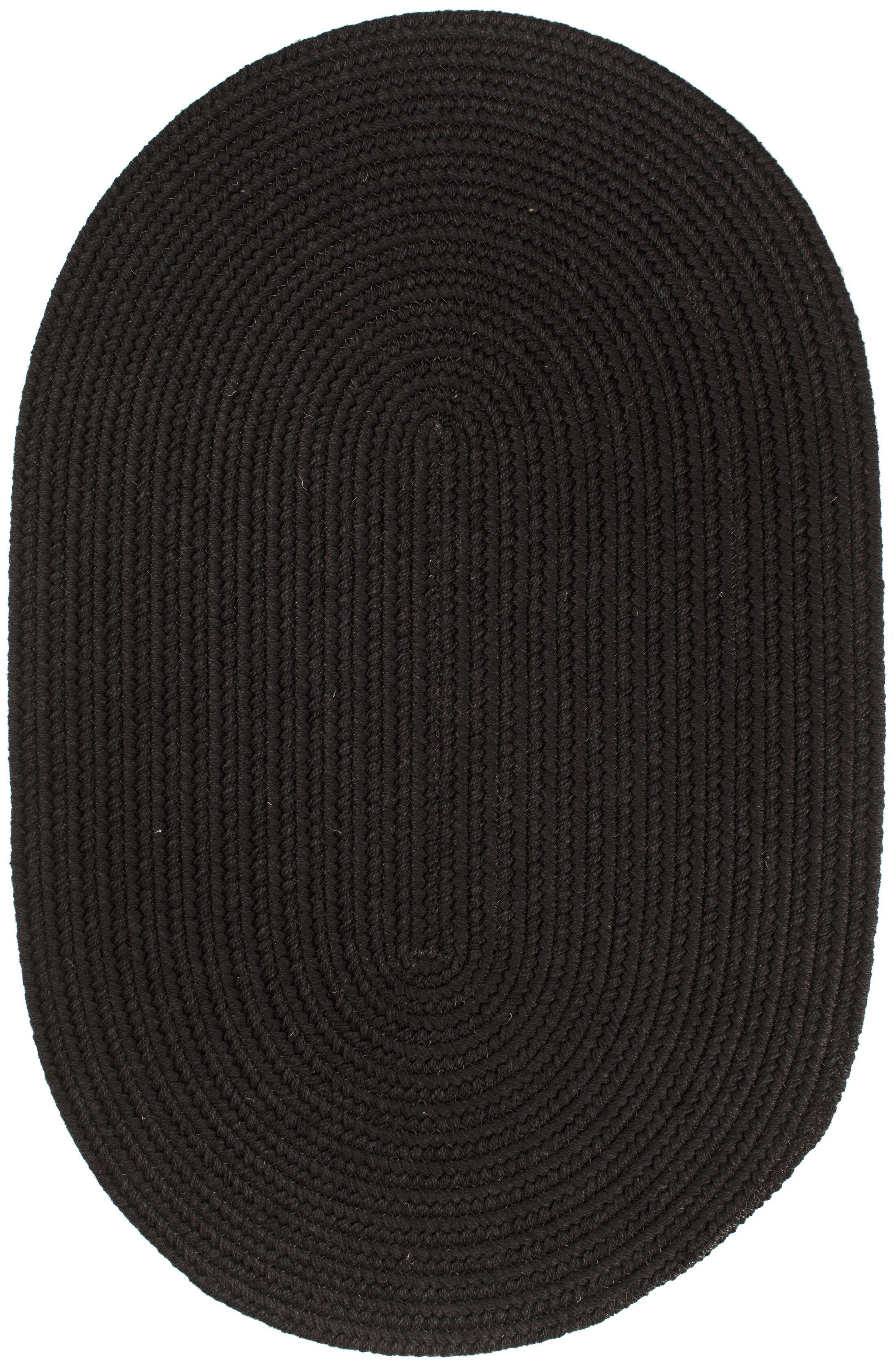 Handmade Black Area Rug Rug Size: Oval  10' x 13'