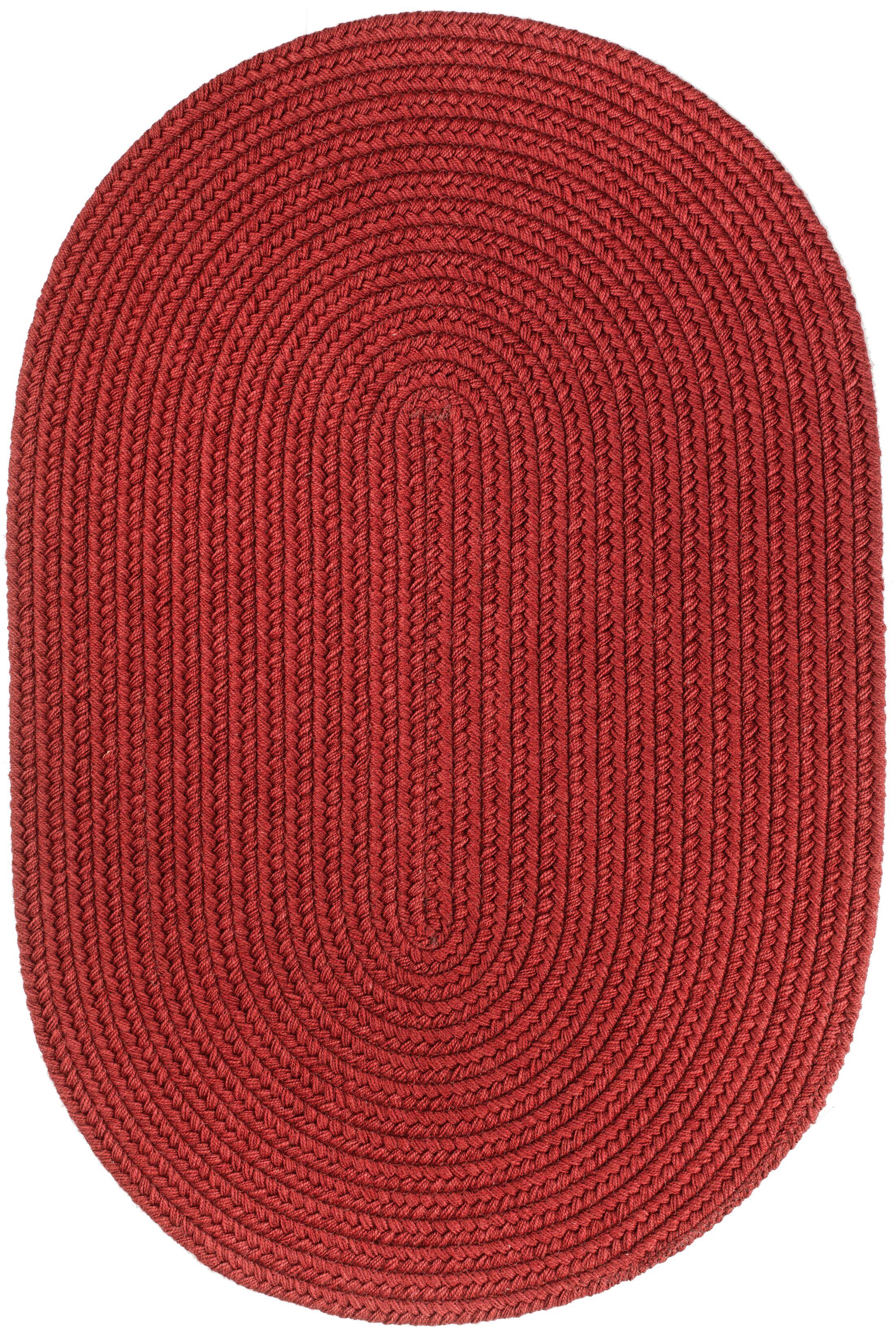Handmade Red Area Rug Rug Size: Oval  4' x 6'