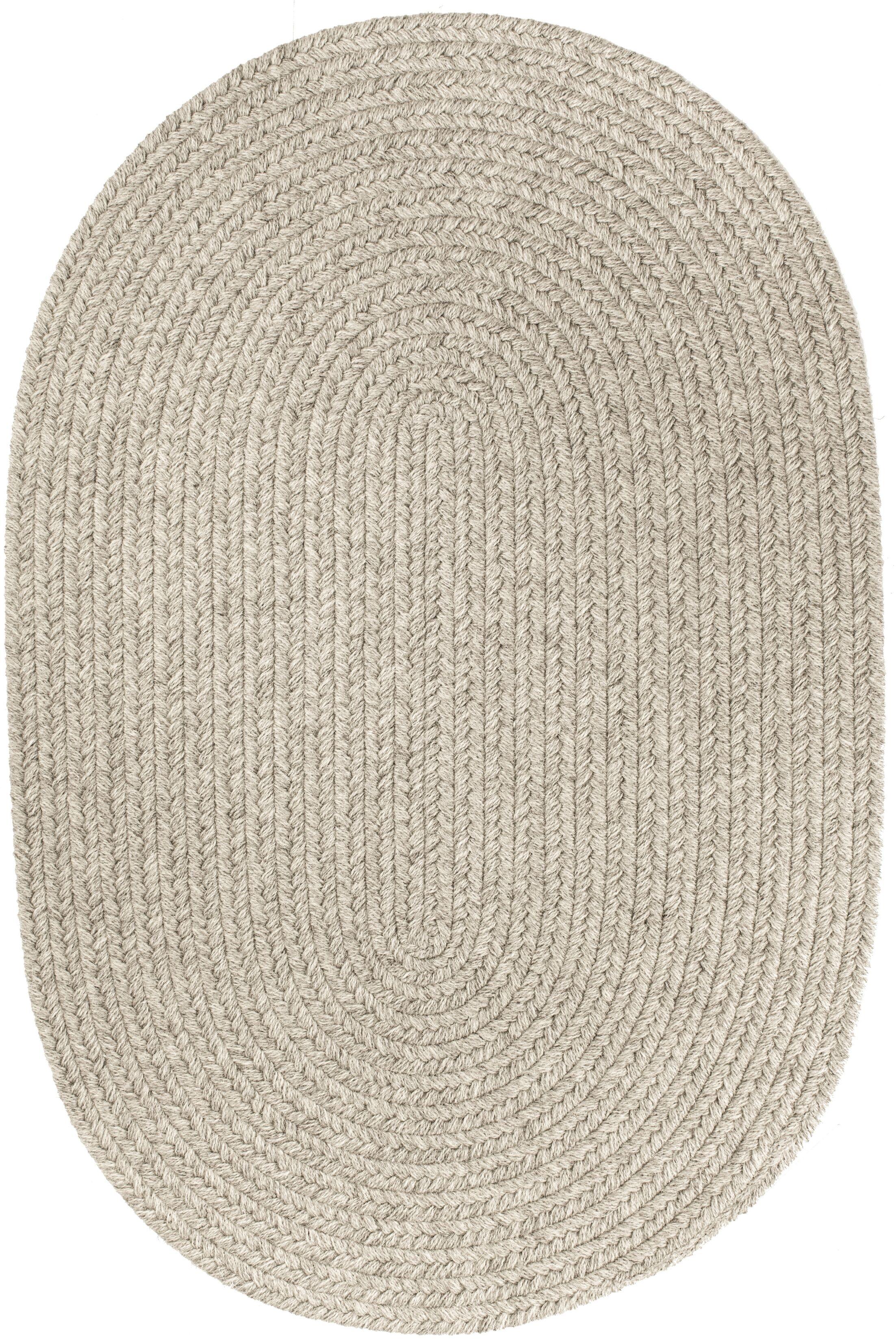 Handmade Light Gray Area Rug Rug Size: Oval 4' x 6'