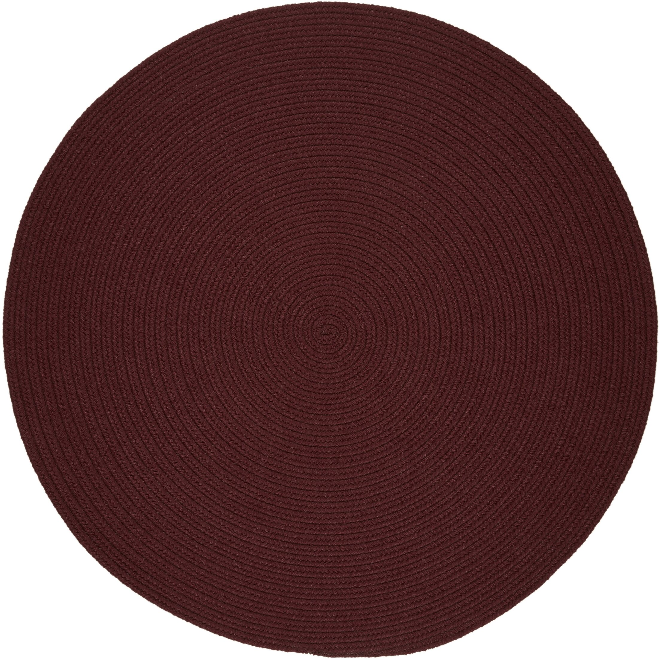 Handmade Burgundy Indoor/Outdoor Area Rug Rug Size: Round 6'