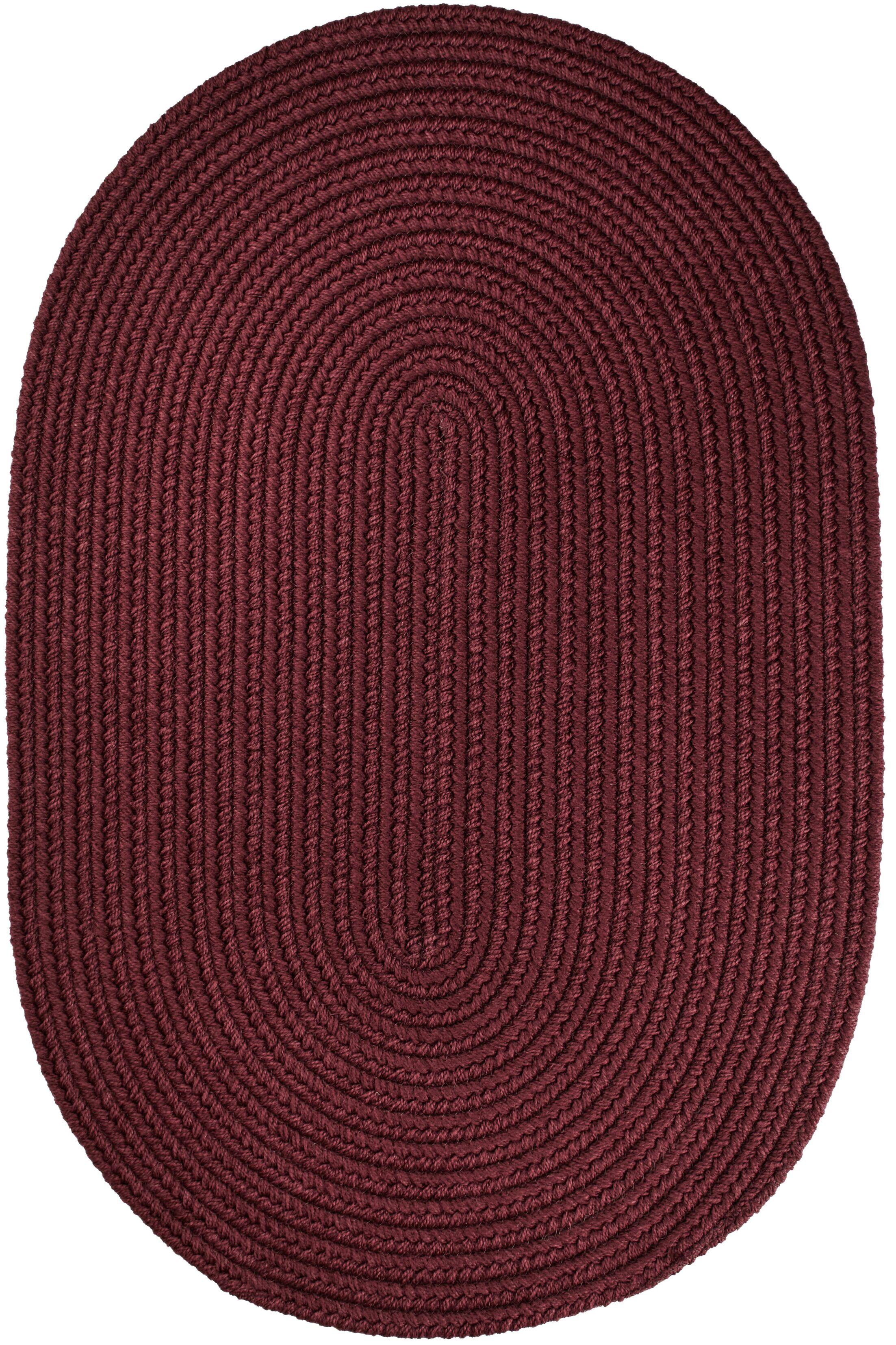 Handmade Burgundy Indoor/Outdoor Area Rug Rug Size: Oval 5' x 8'