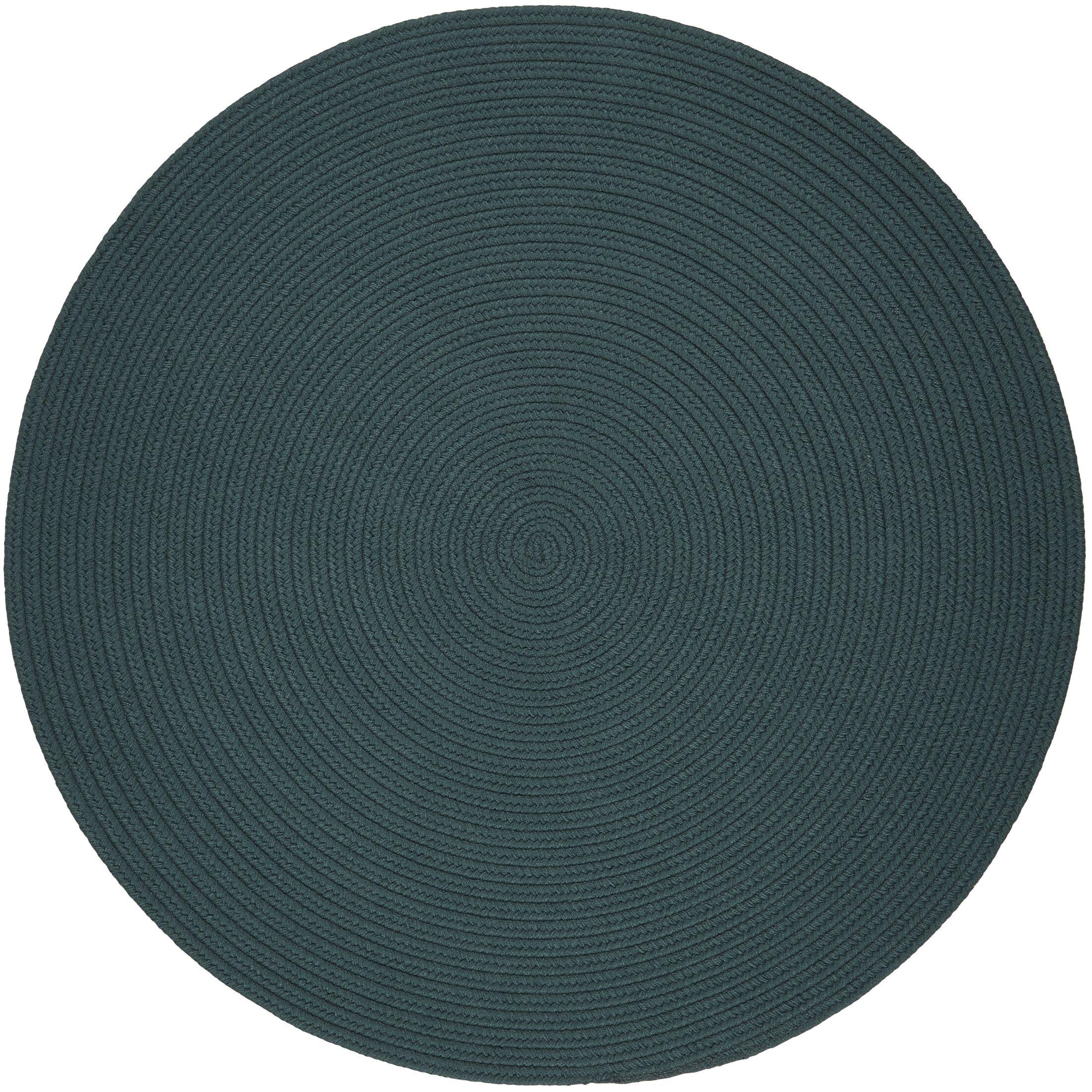 Handmade Teal Indoor/Outdoor Area Rug Rug Size: Round 4'